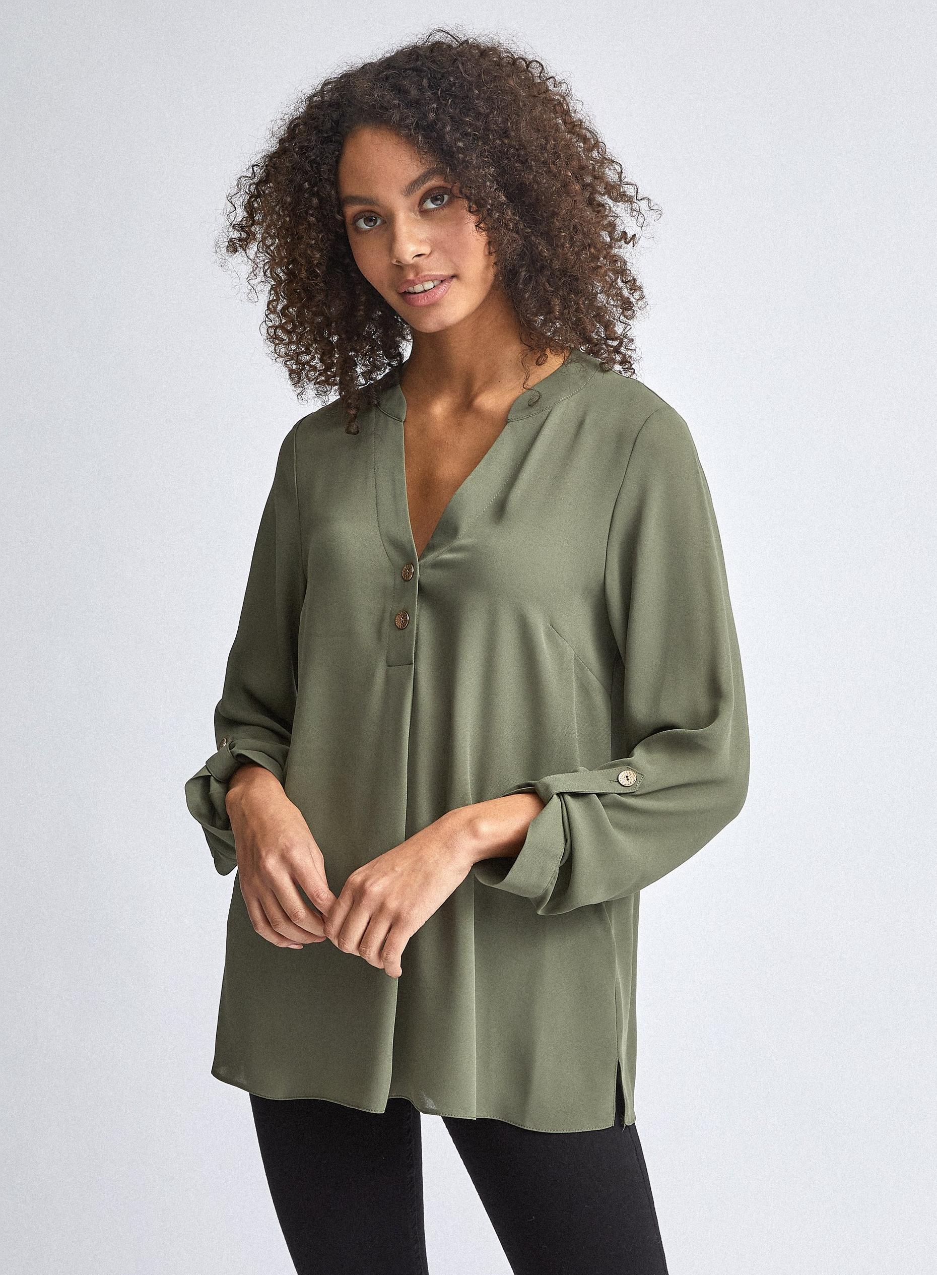 Khaki 2 Button Roll Sleeve Top
