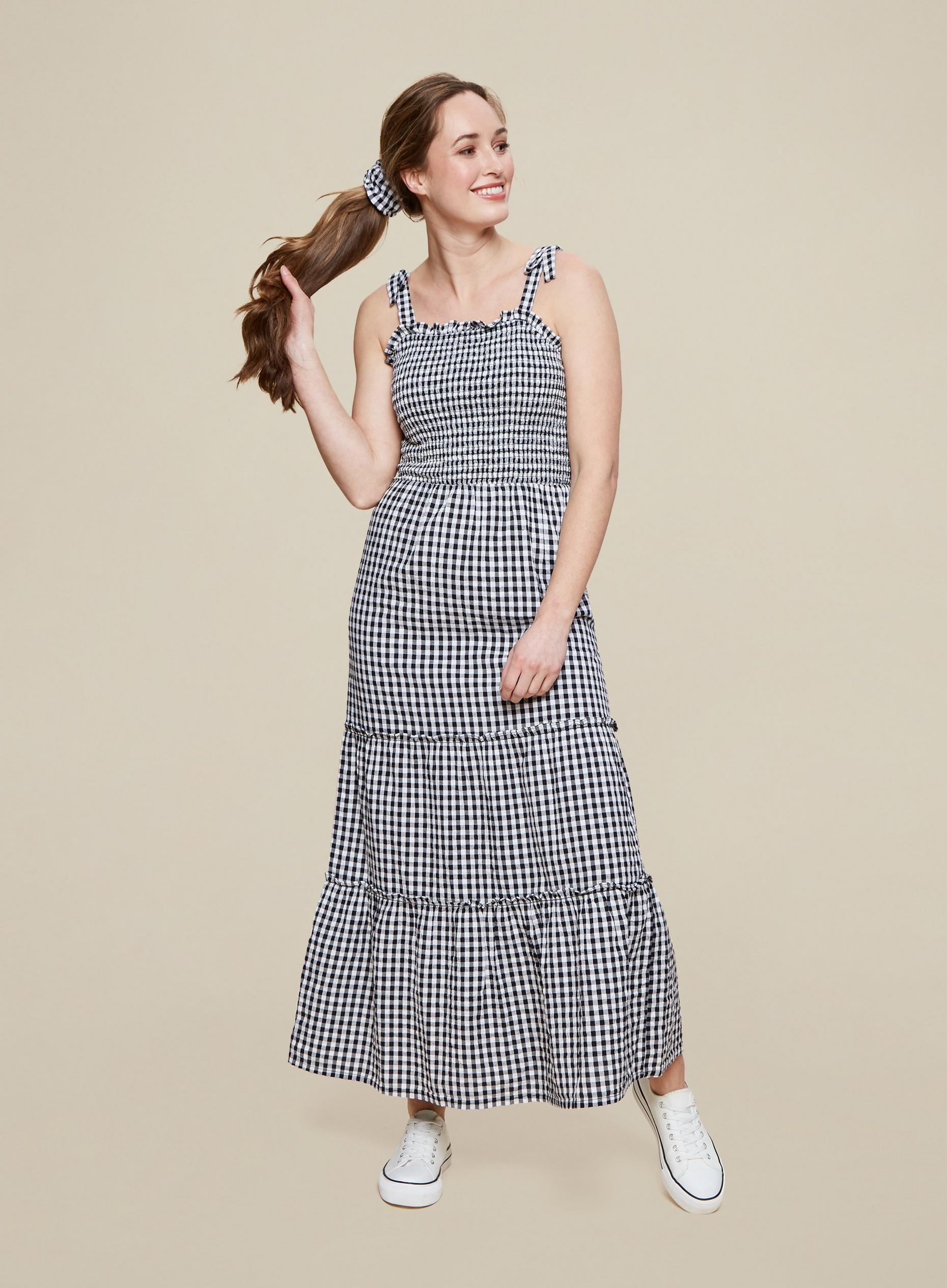 Monochrome Check Print Cami Dress