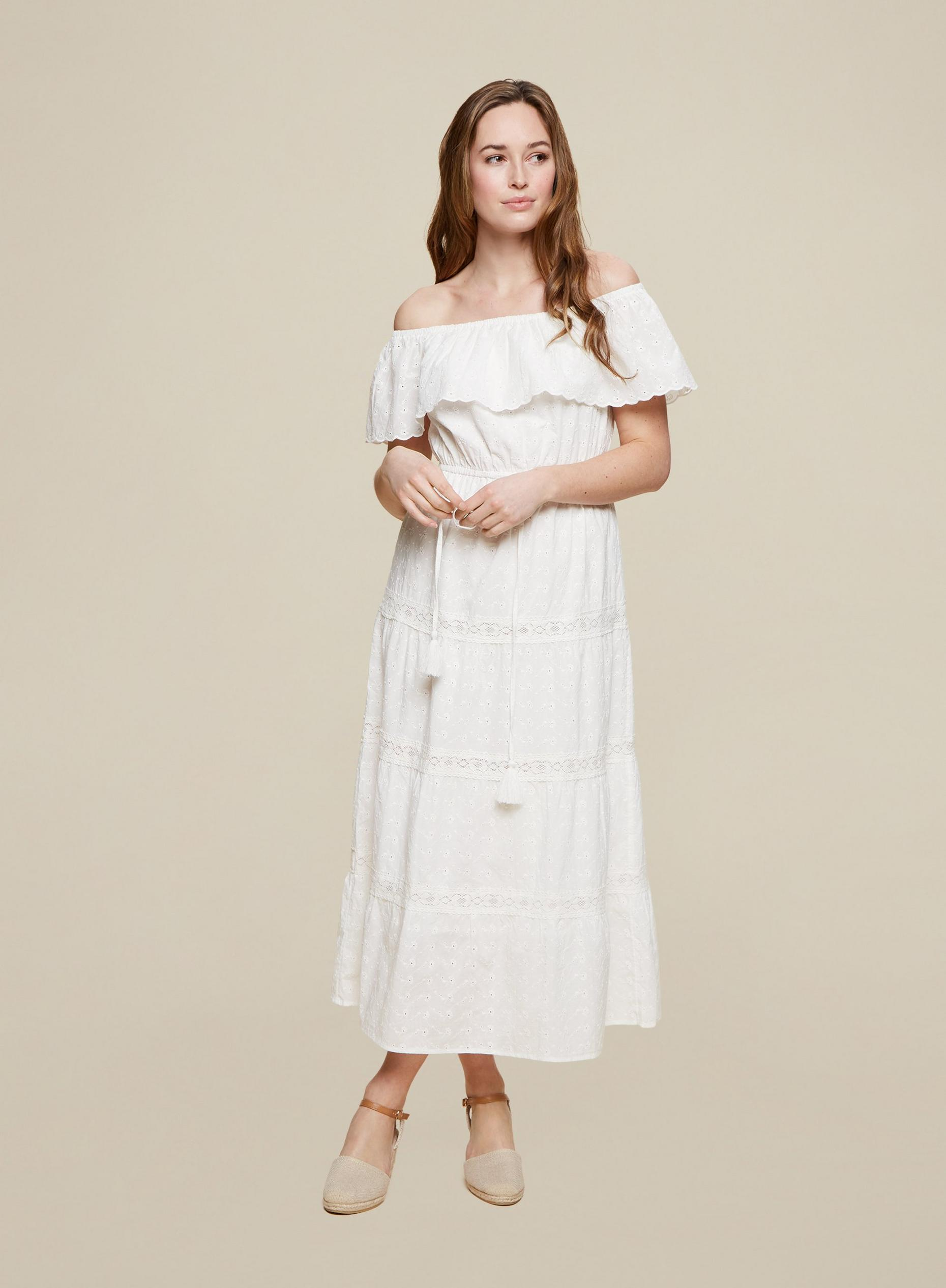 Ivory Broderie Bardot Dress
