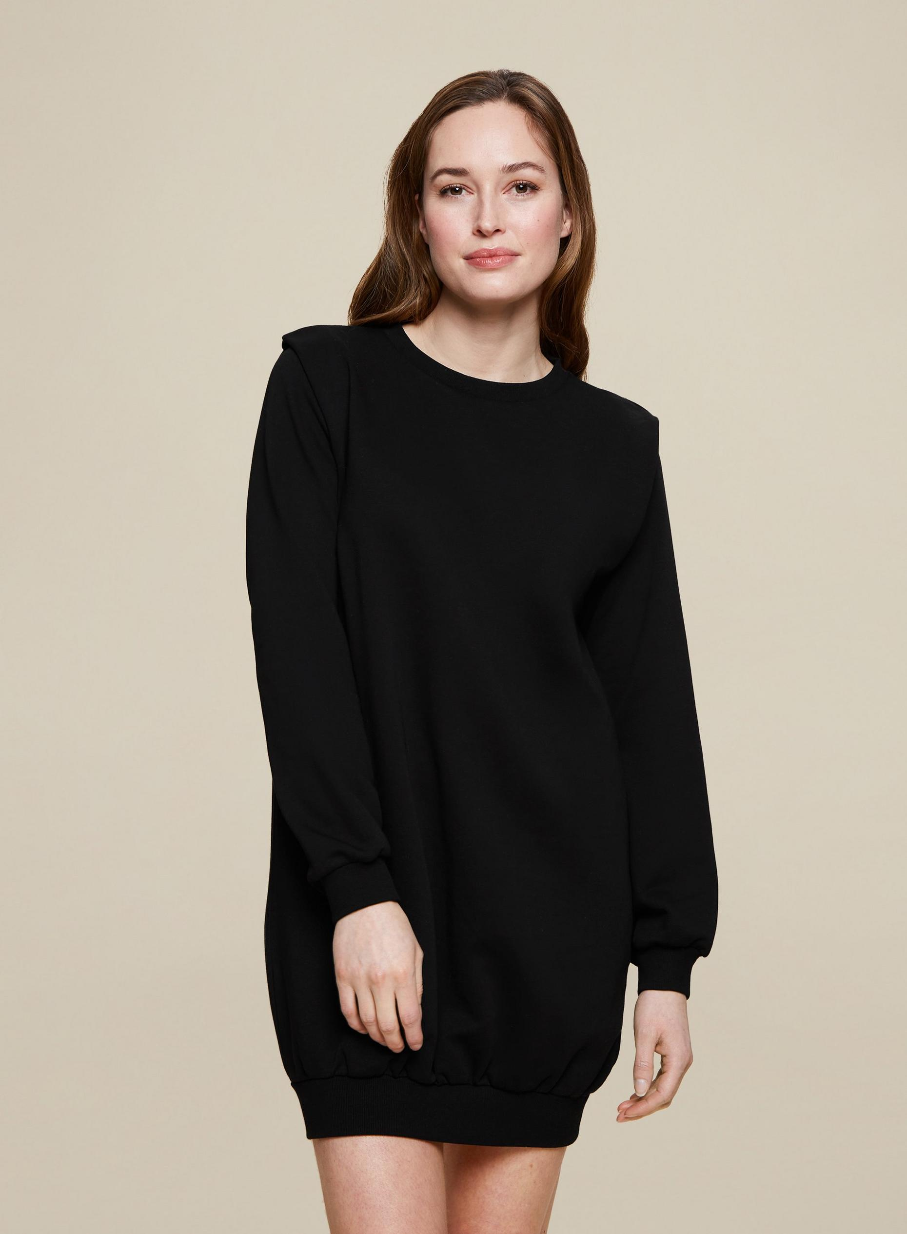 Black Lounge Tuck Sweat Dress