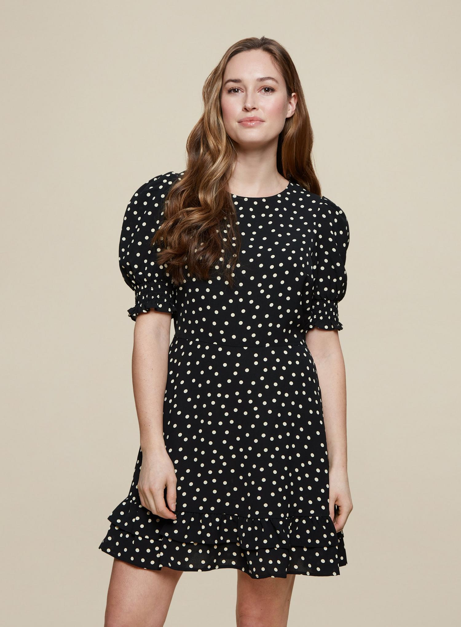 105 Black Spot Print Frill Hem Mini Dress image number 1