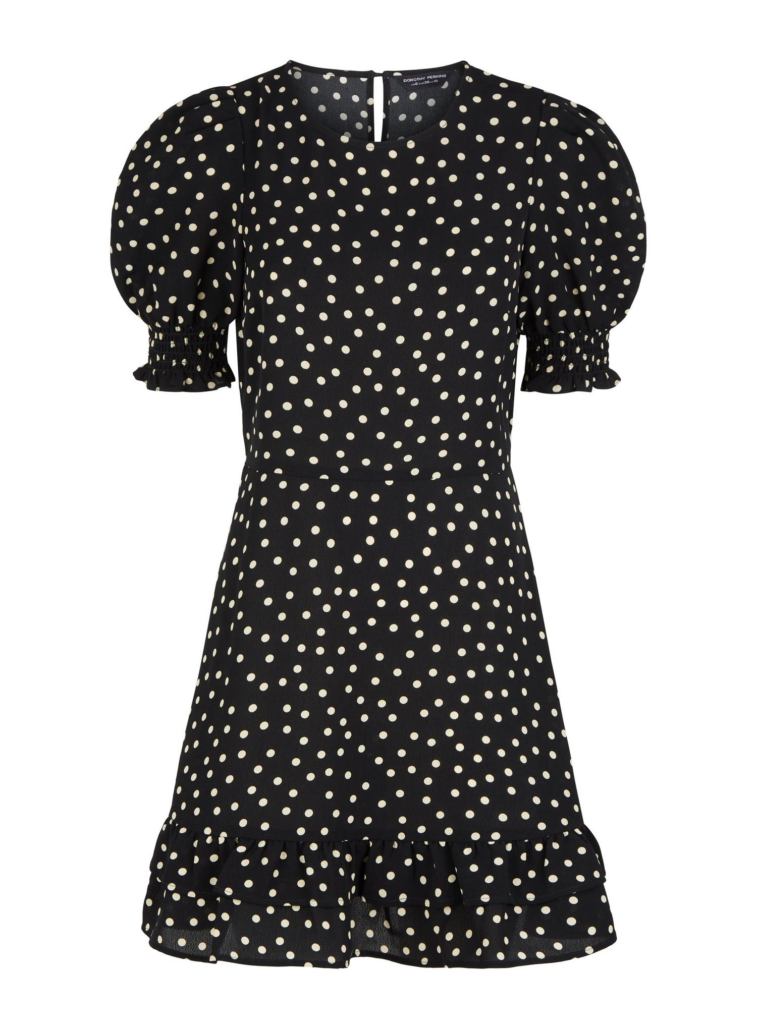 105 Black Spot Print Frill Hem Mini Dress image number 2