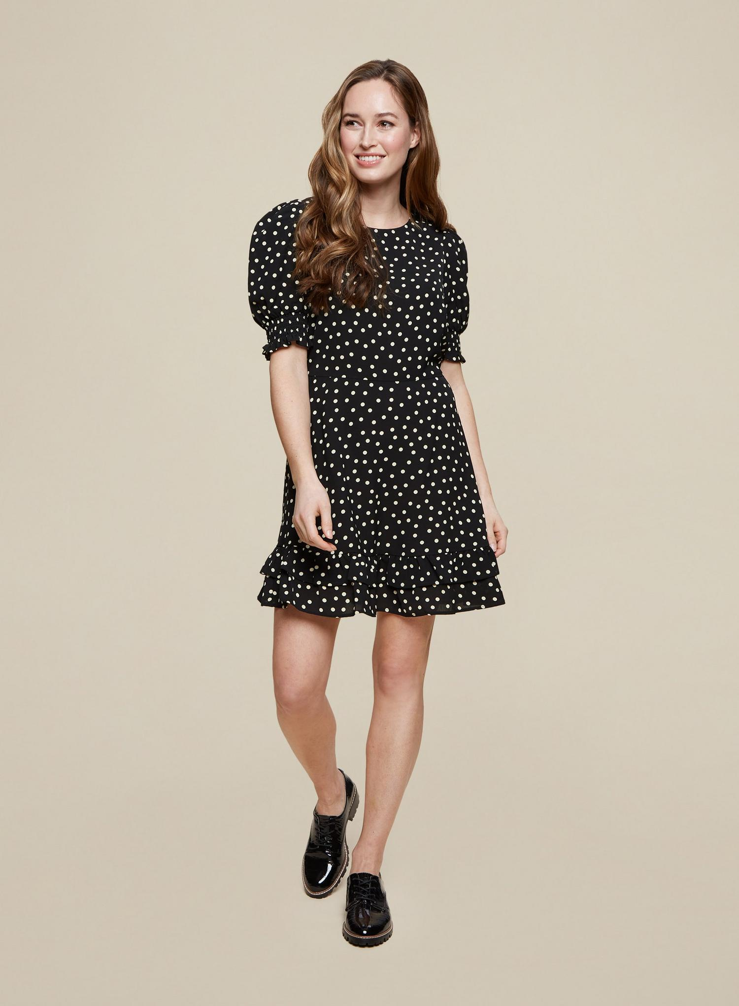 105 Black Spot Print Frill Hem Mini Dress image number 3