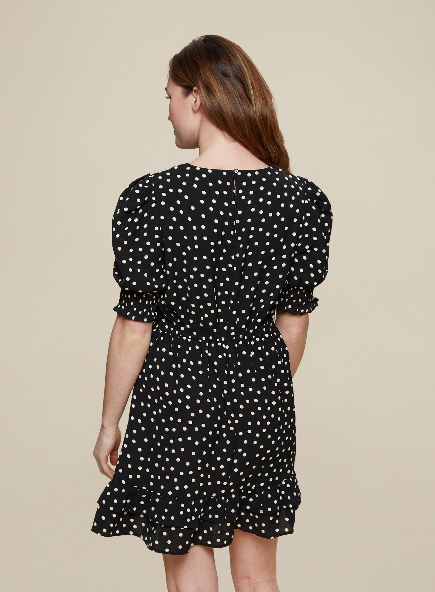 105 Black Spot Print Frill Hem Mini Dress image number 4