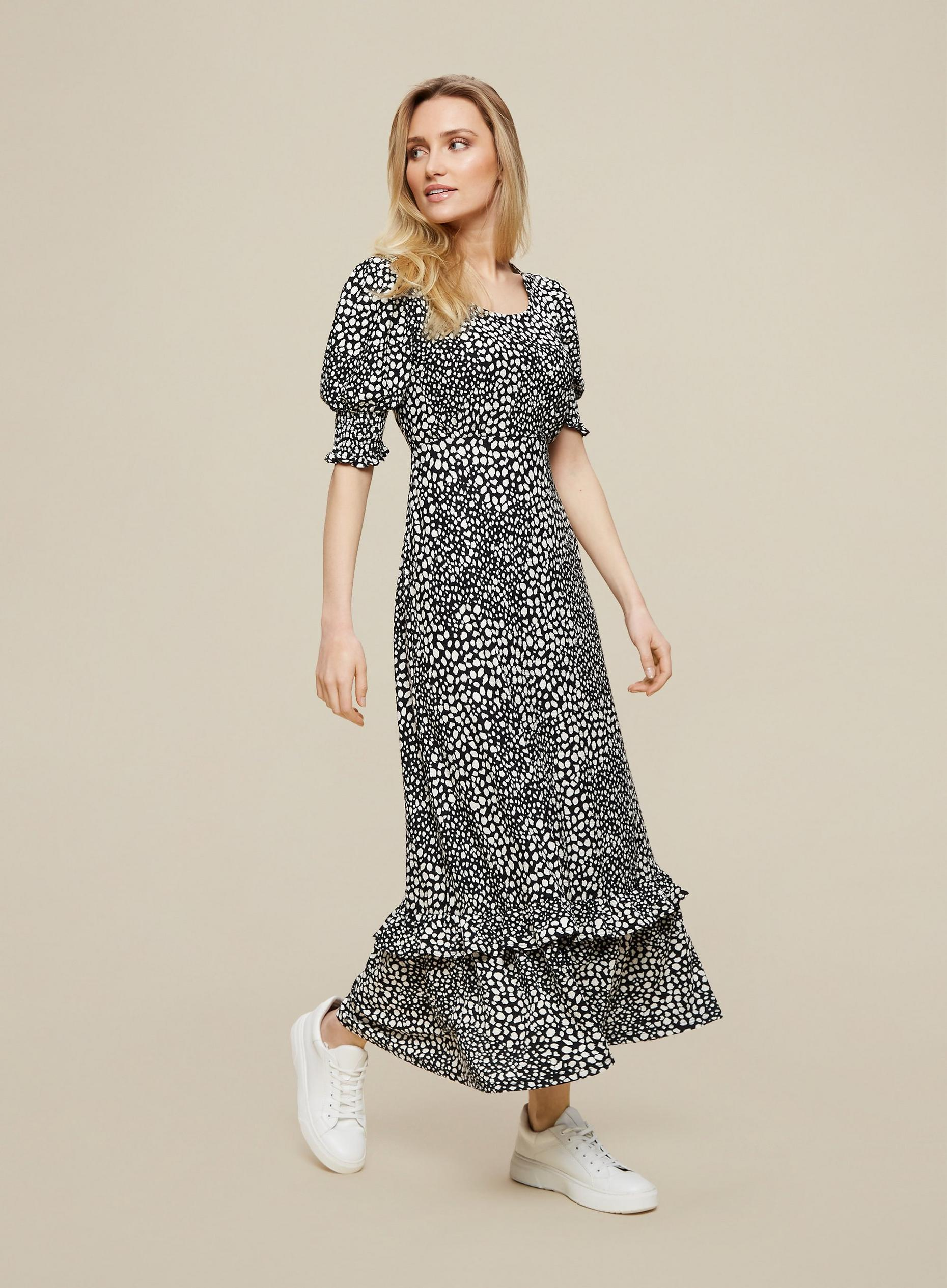 Neutral Leopard Print Midi Wrap Dress