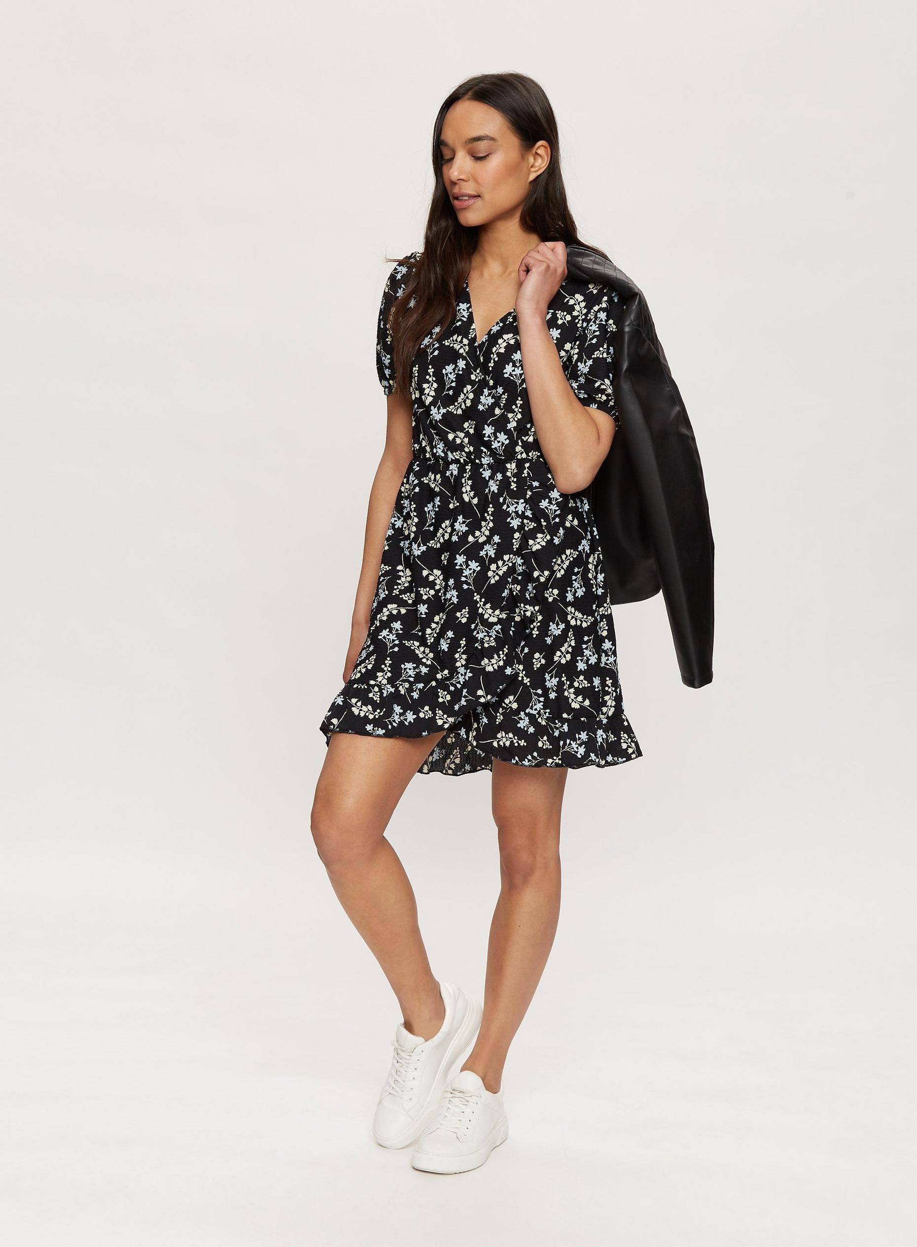 Black Floral Print Jersey Mini Dress