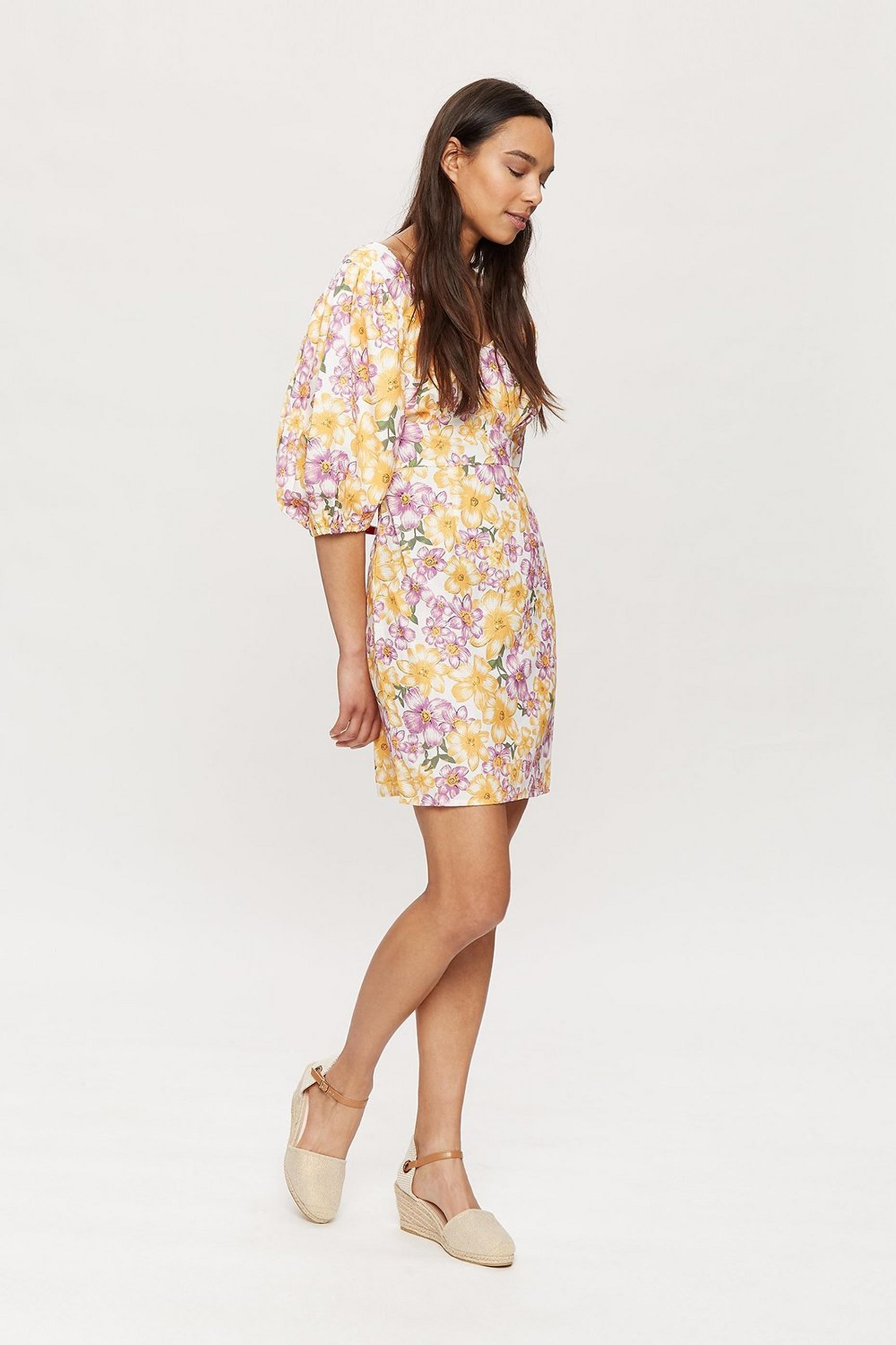 Multi Floral Puff Sleeve Mini Dress