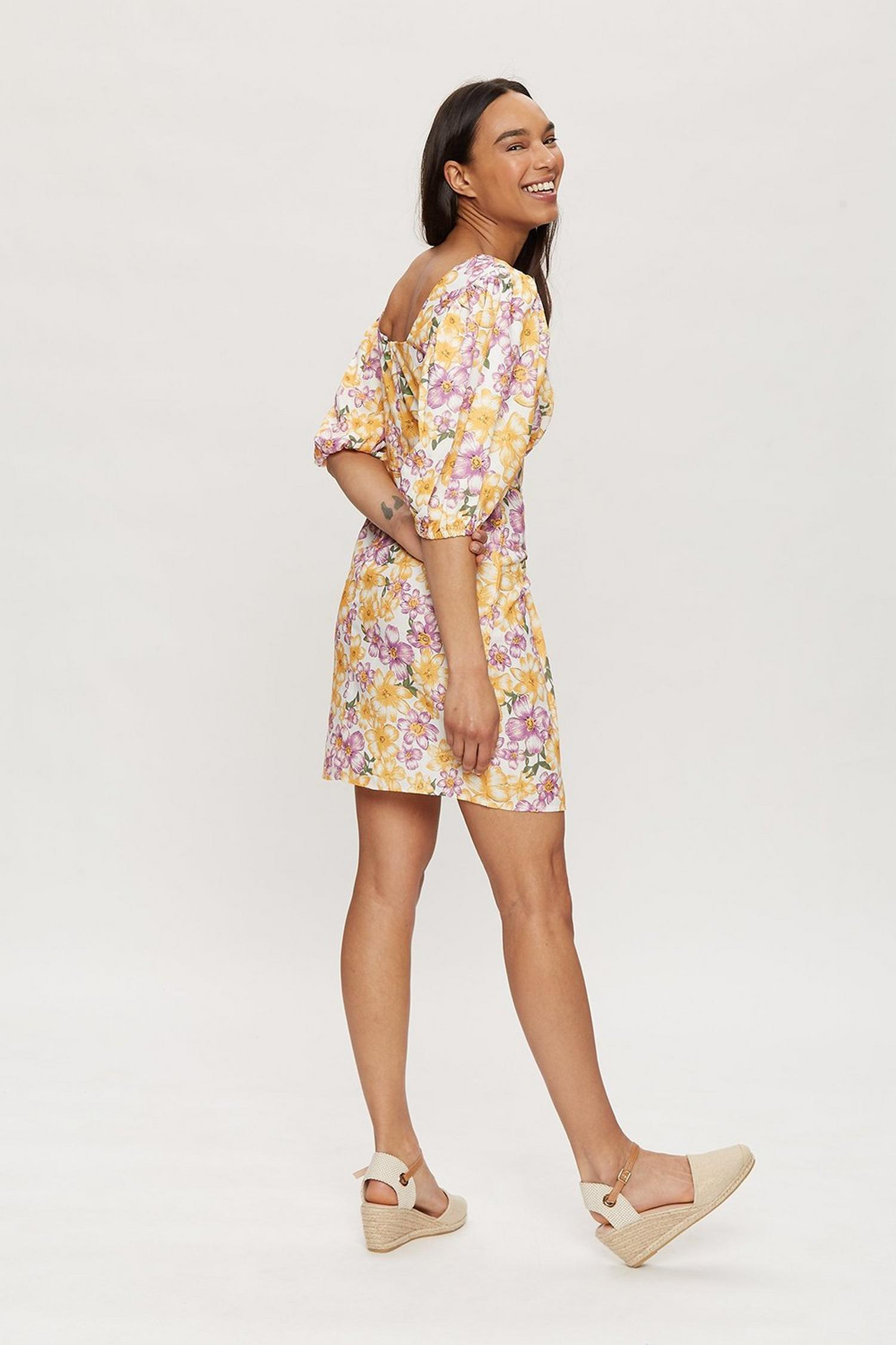 144 Multi Floral Puff Sleeve Mini Dress image number 3