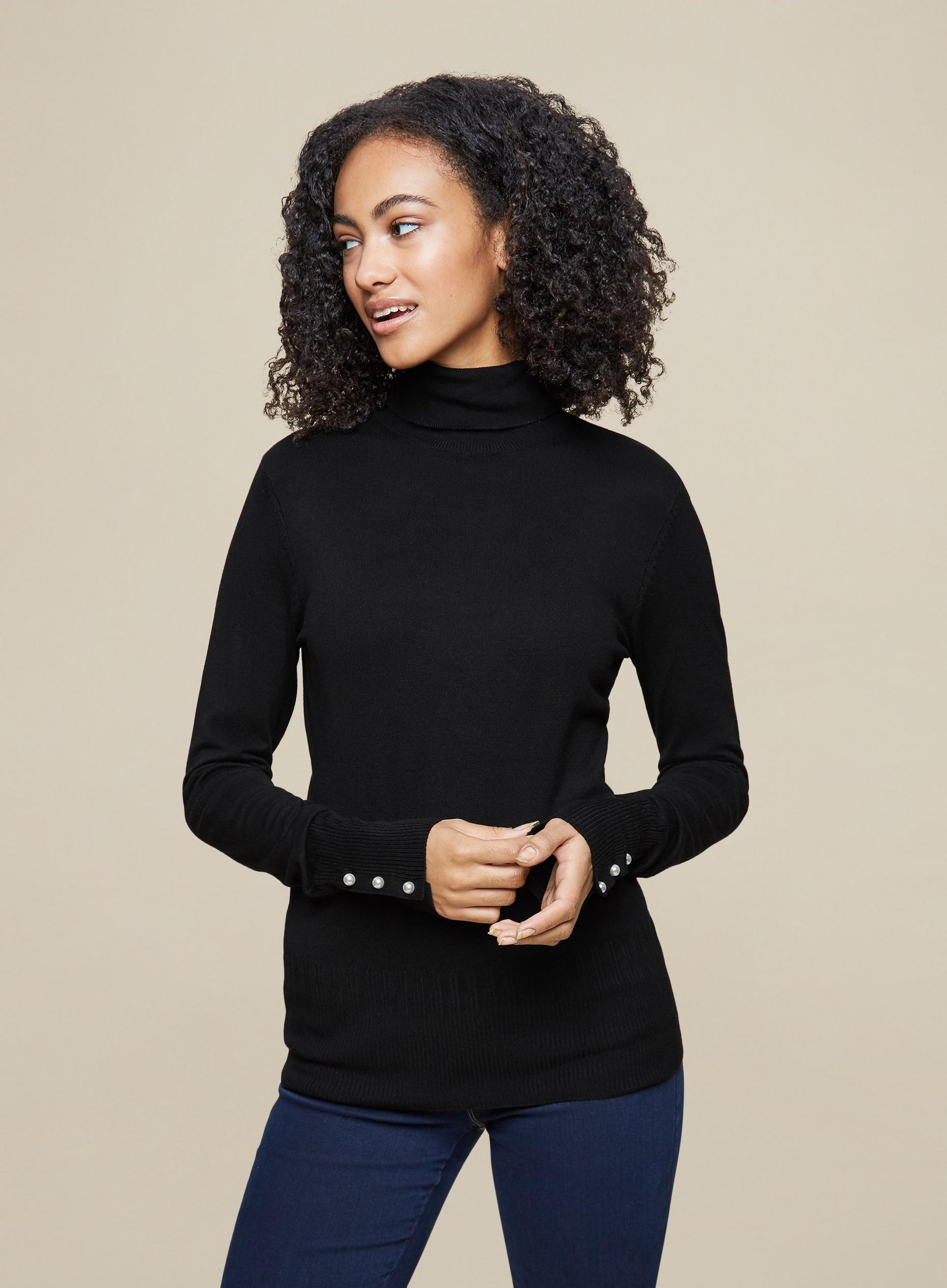 Tall Black Pearl Cuff Roll Neck Jumper