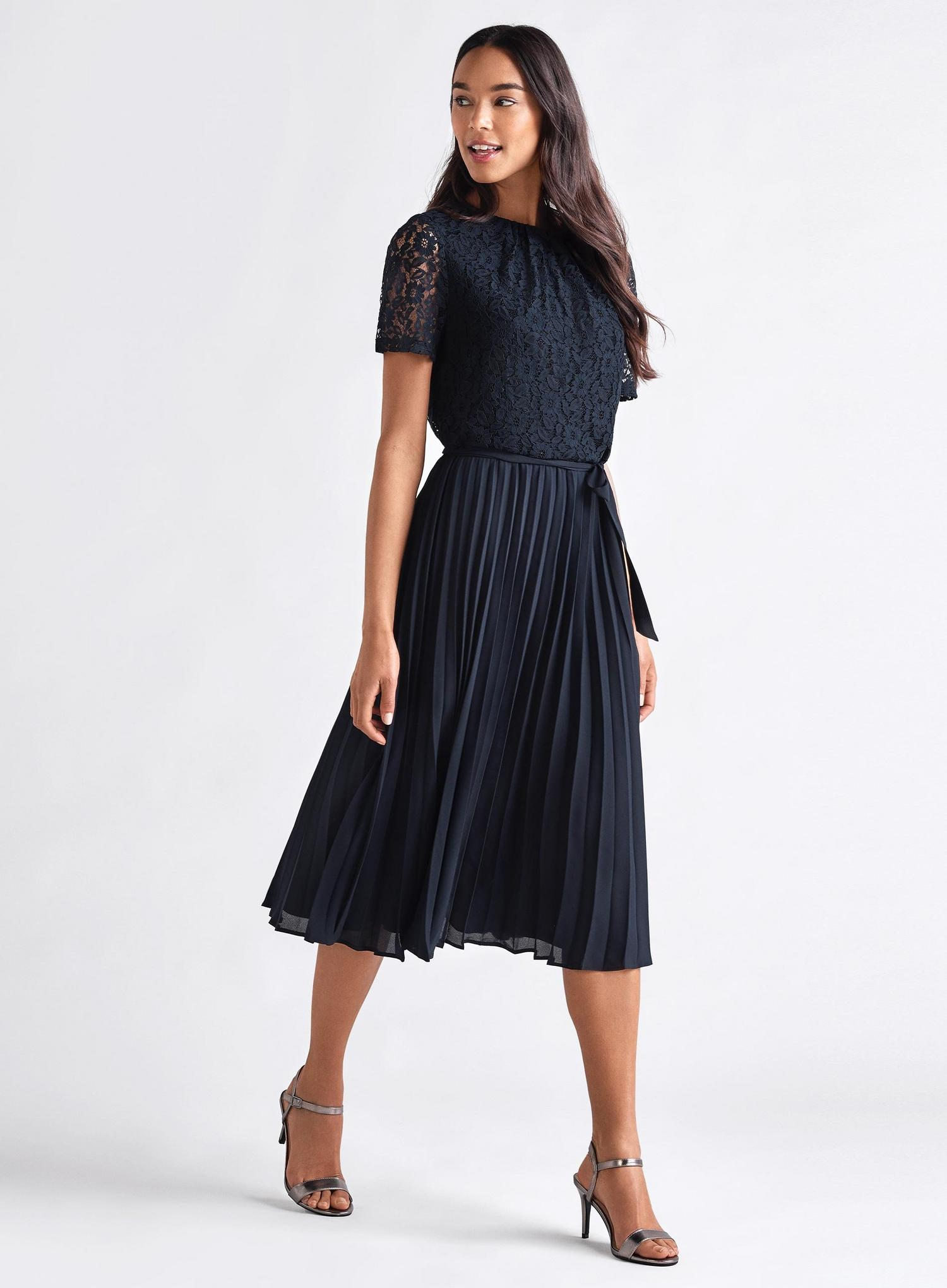 148 Navy Lace Pleated Midi Dress image number 1