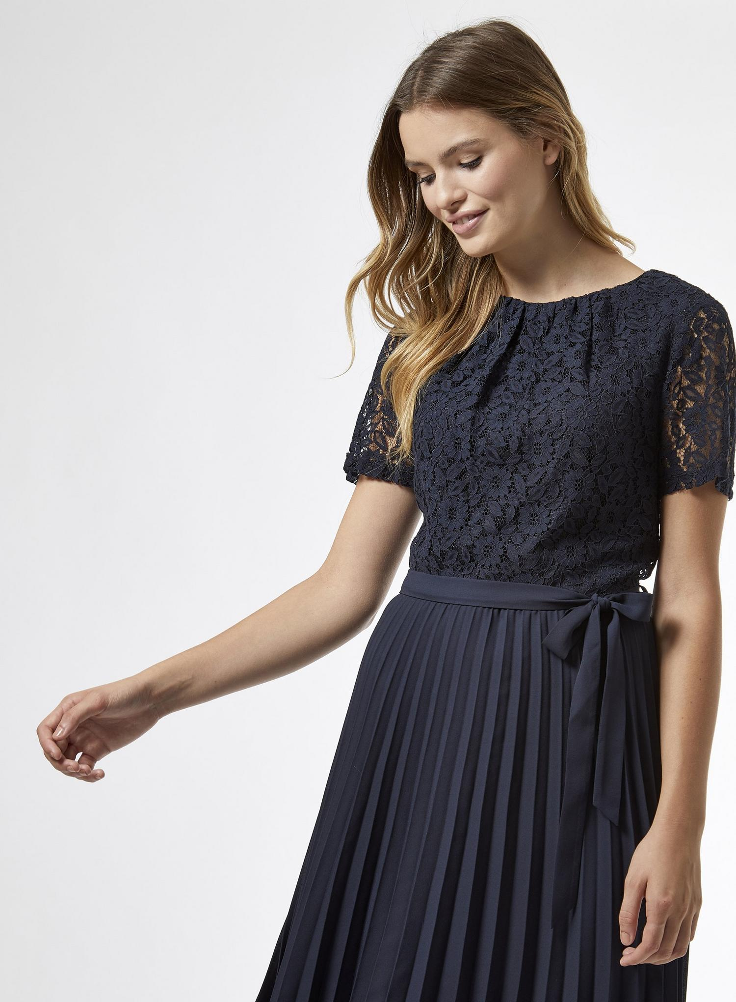 148 Navy Lace Pleated Midi Dress image number 3