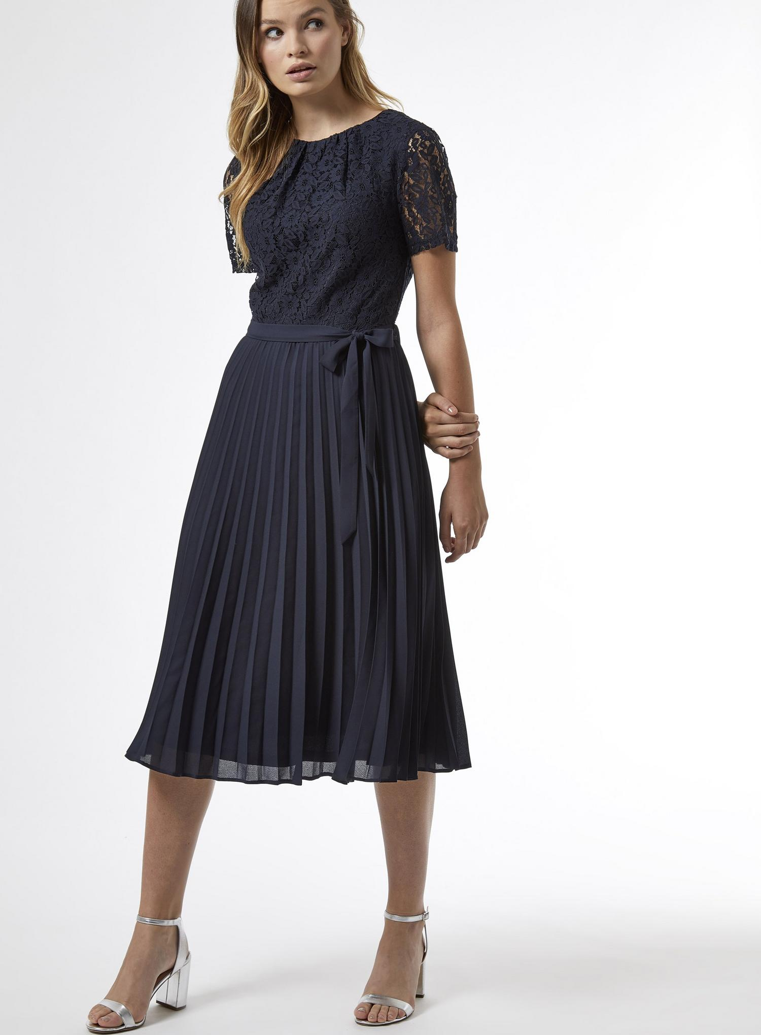 148 Navy Lace Pleated Midi Dress image number 4