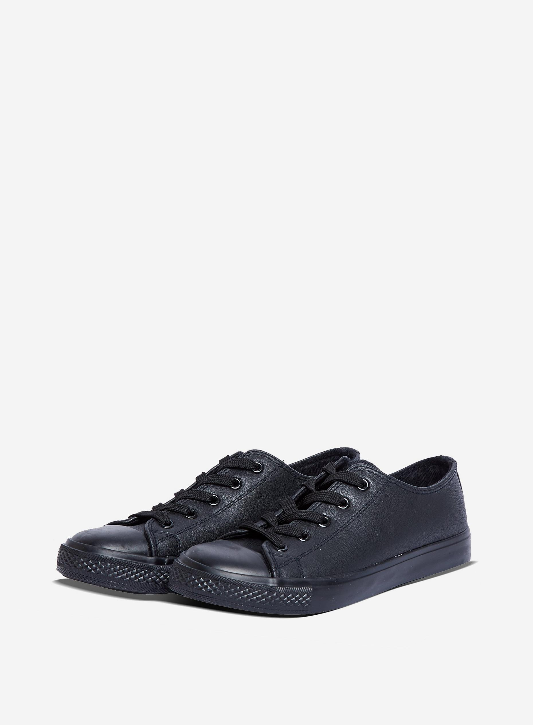 Wide Fit Black PU Icon Trainers