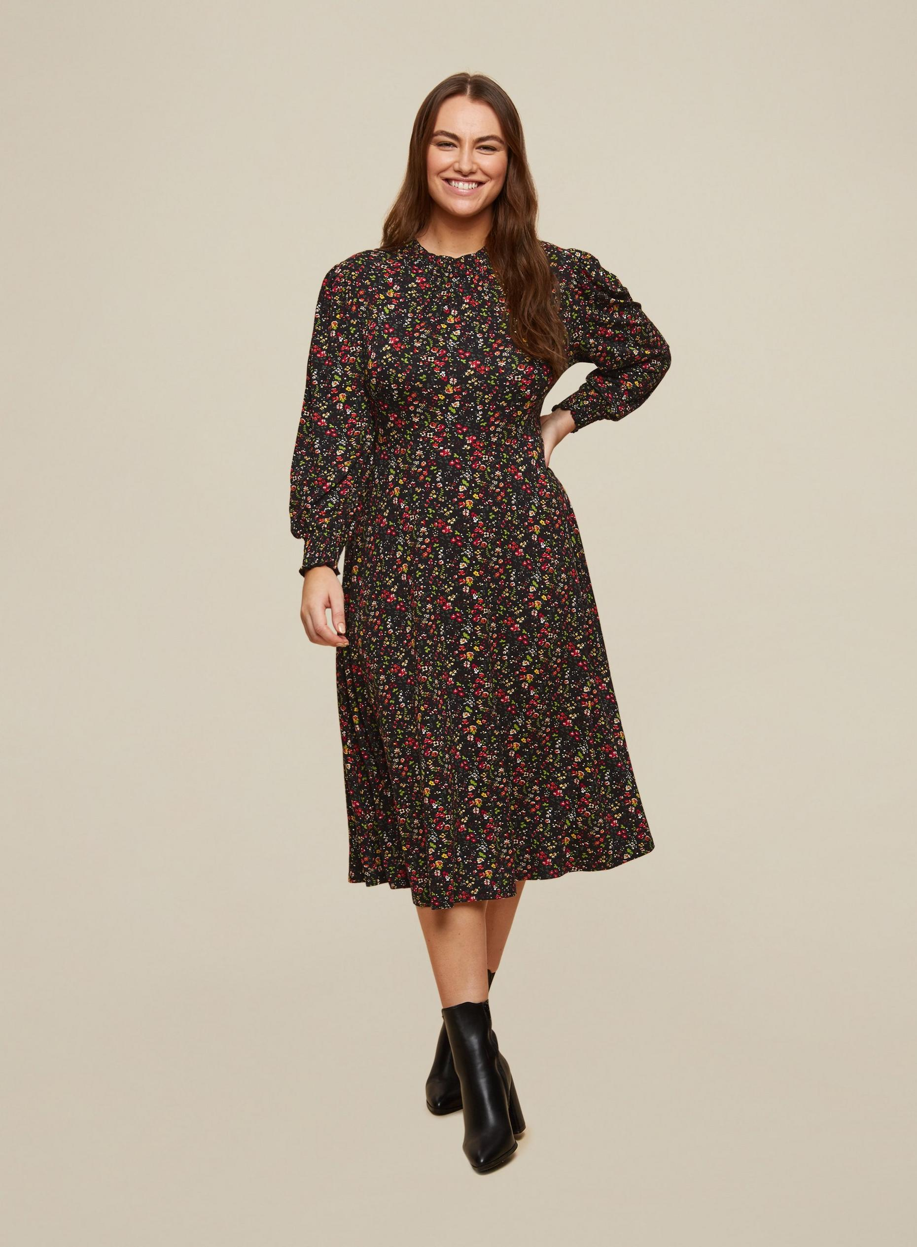 Curve Ditsy print shirred neck midi dress