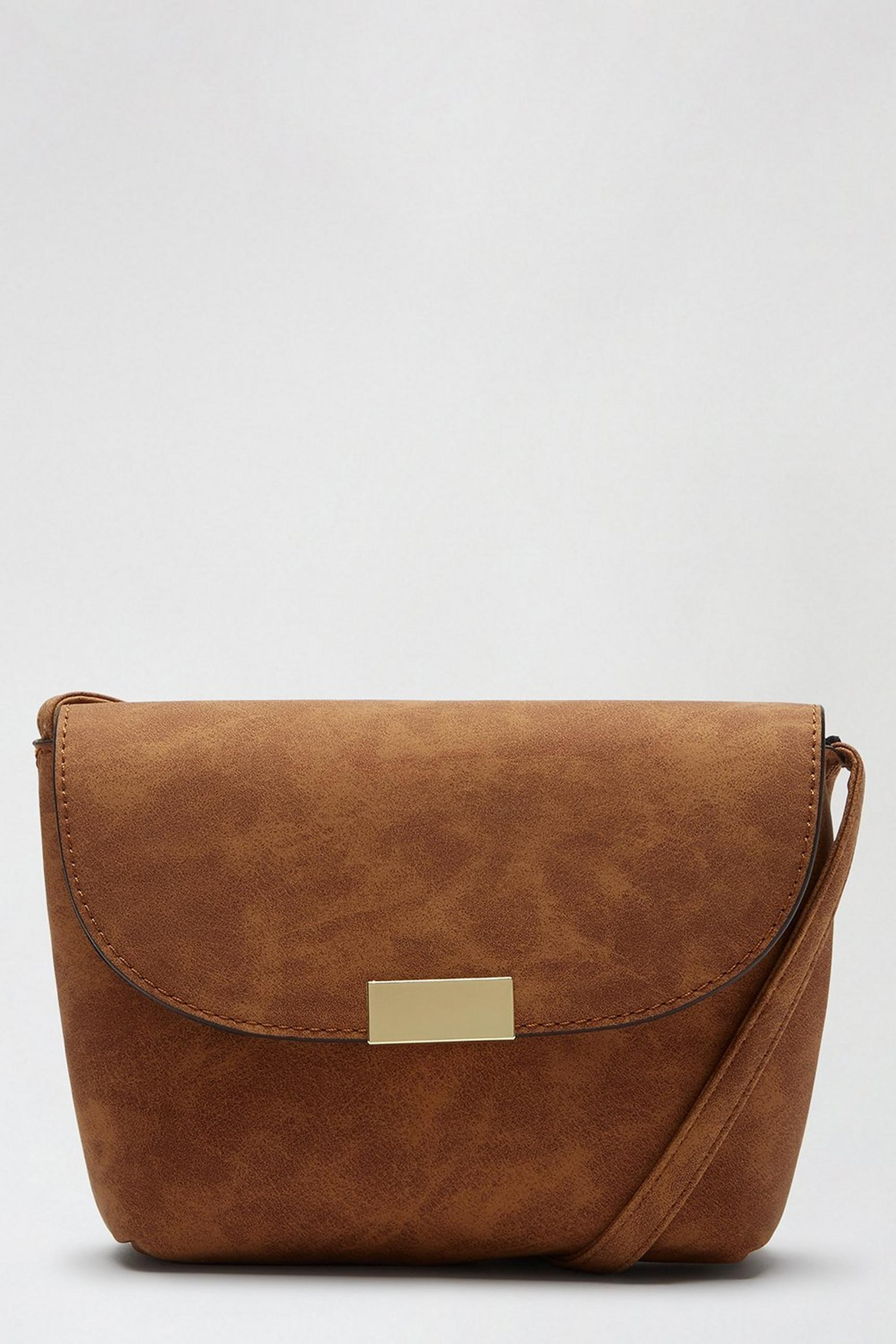 Tan Metal Tab Crossbody Bag