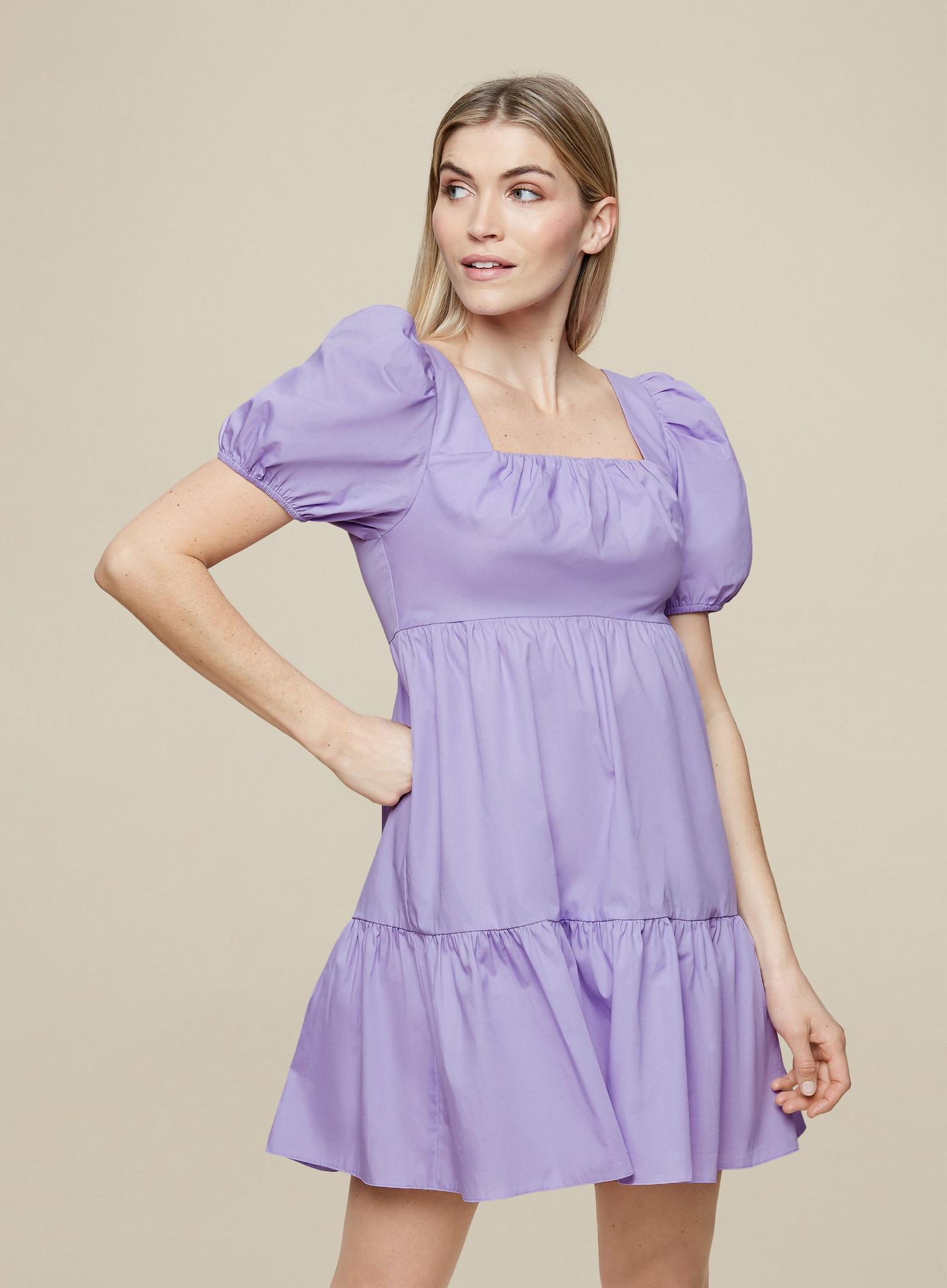156 Lilac Cotton Smock Dress image number 1