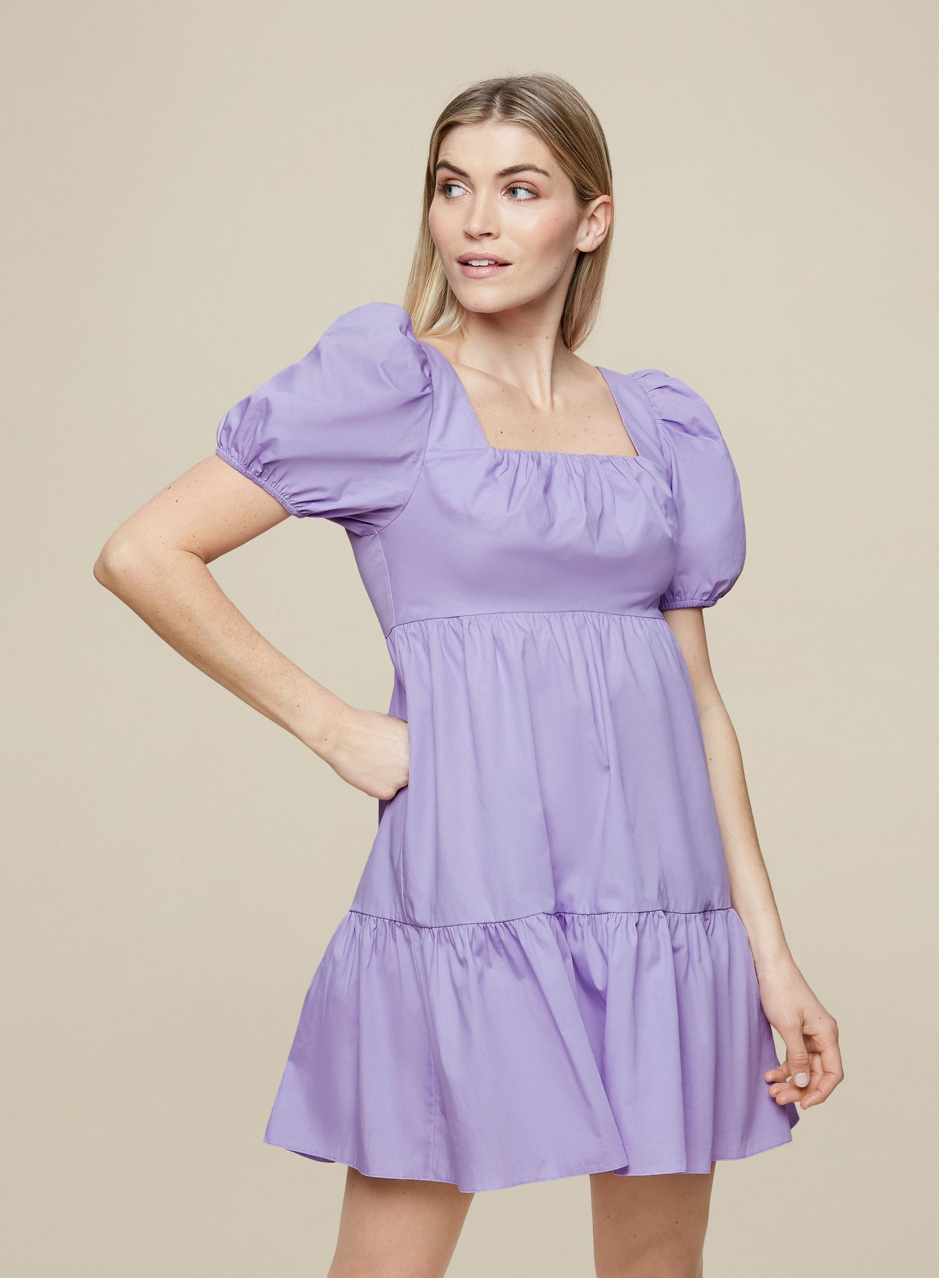 Lilac Cotton Smock Dress