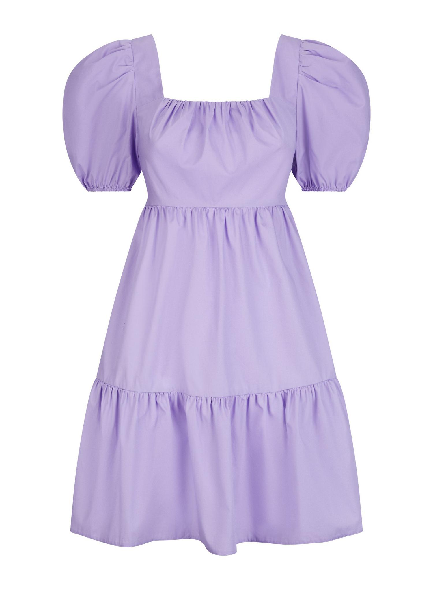 156 Lilac Cotton Smock Dress image number 2