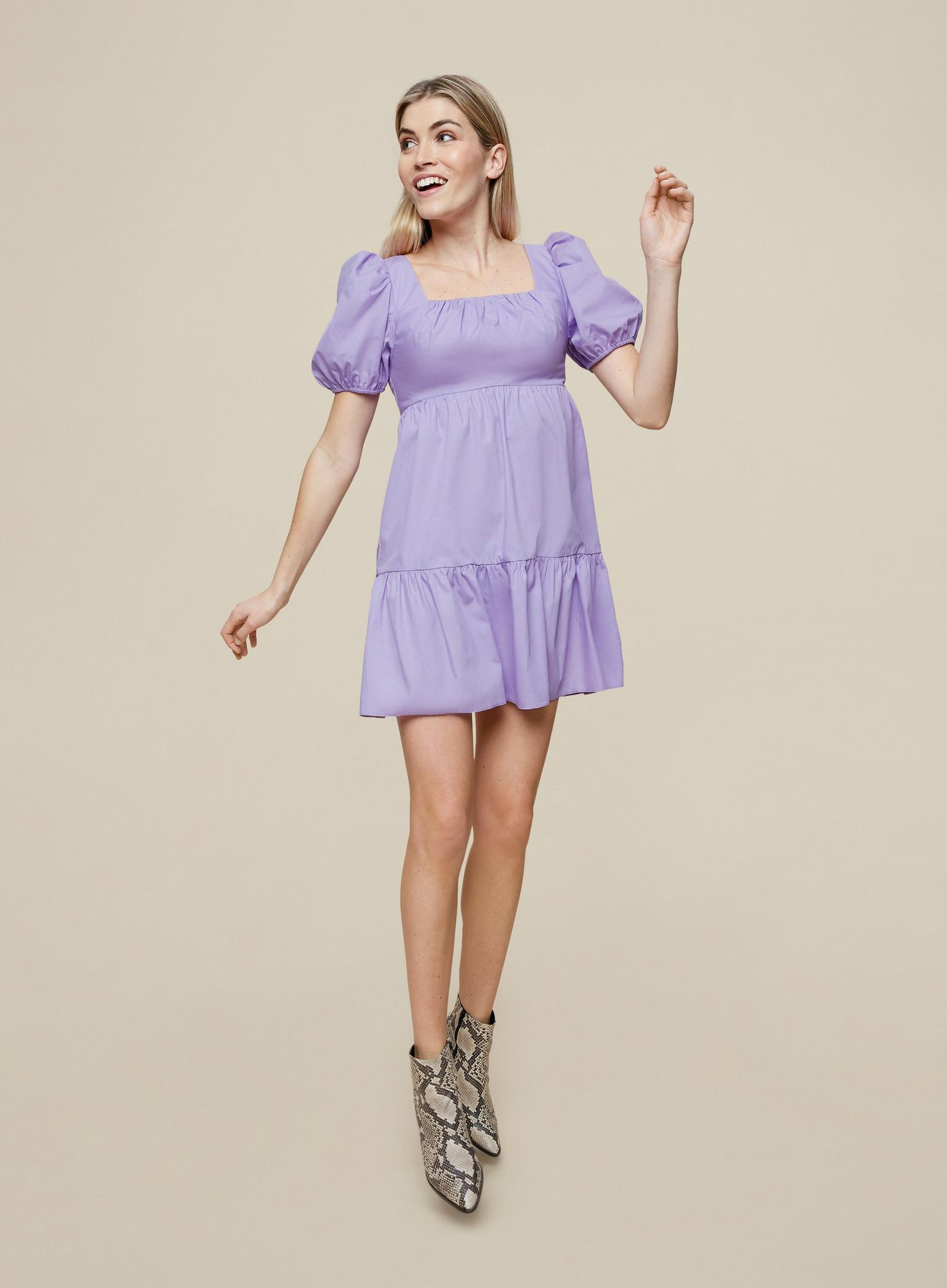 156 Lilac Cotton Smock Dress image number 3