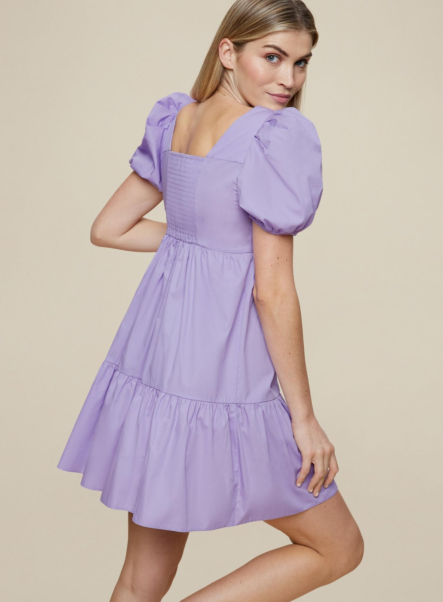 156 Lilac Cotton Smock Dress image number 4