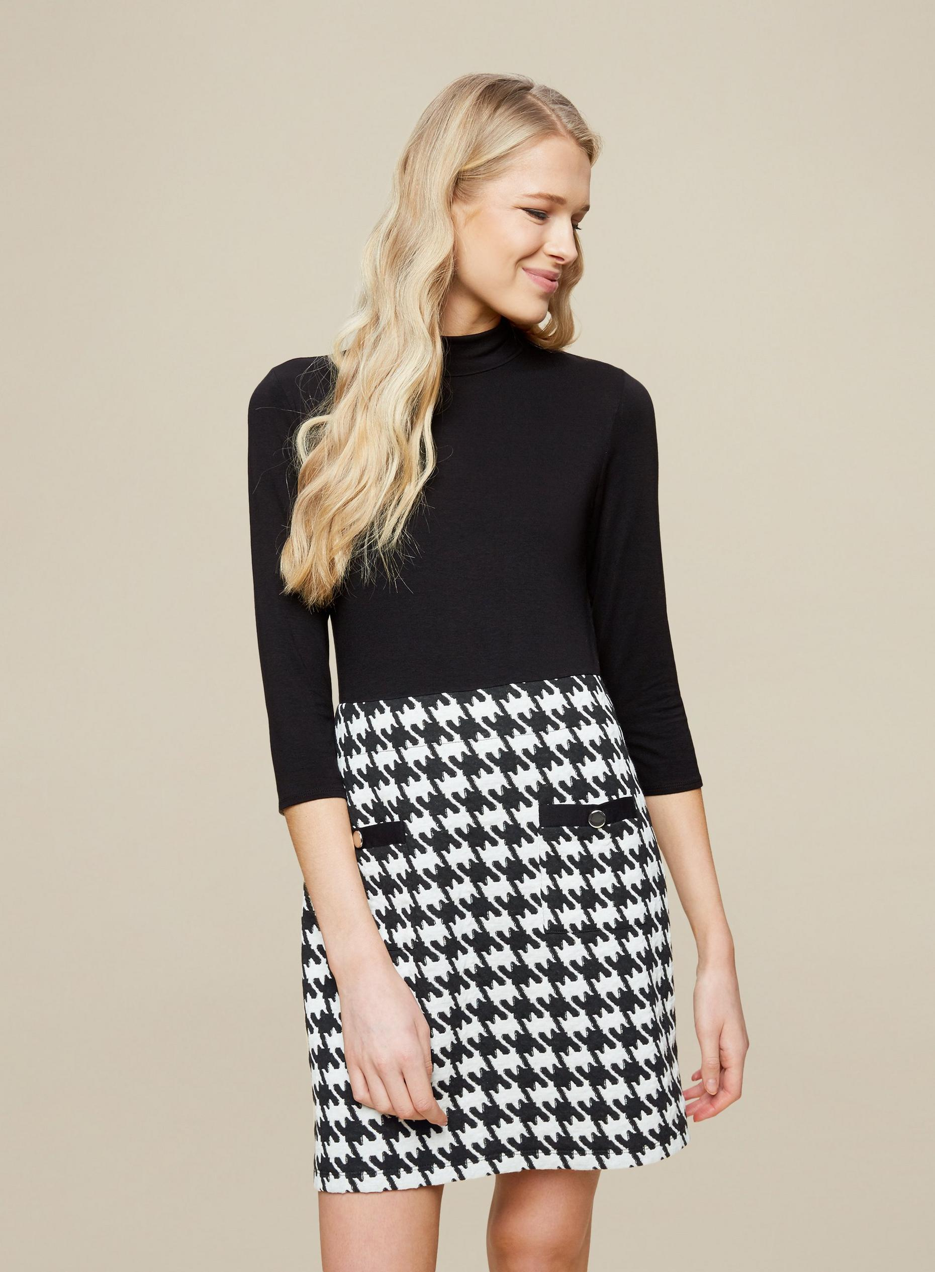 Black Dogtooth 2-In-1 Mini Dress
