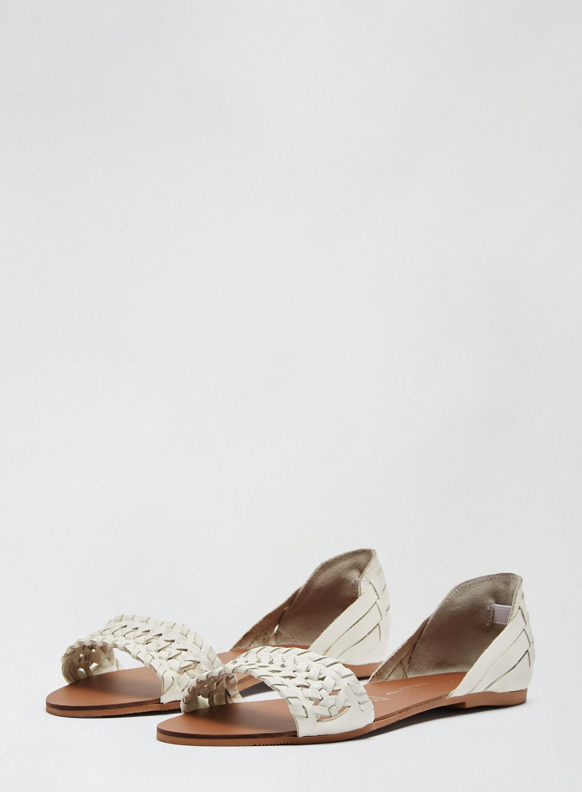 Wide Fit White Leather Jingly Sandals