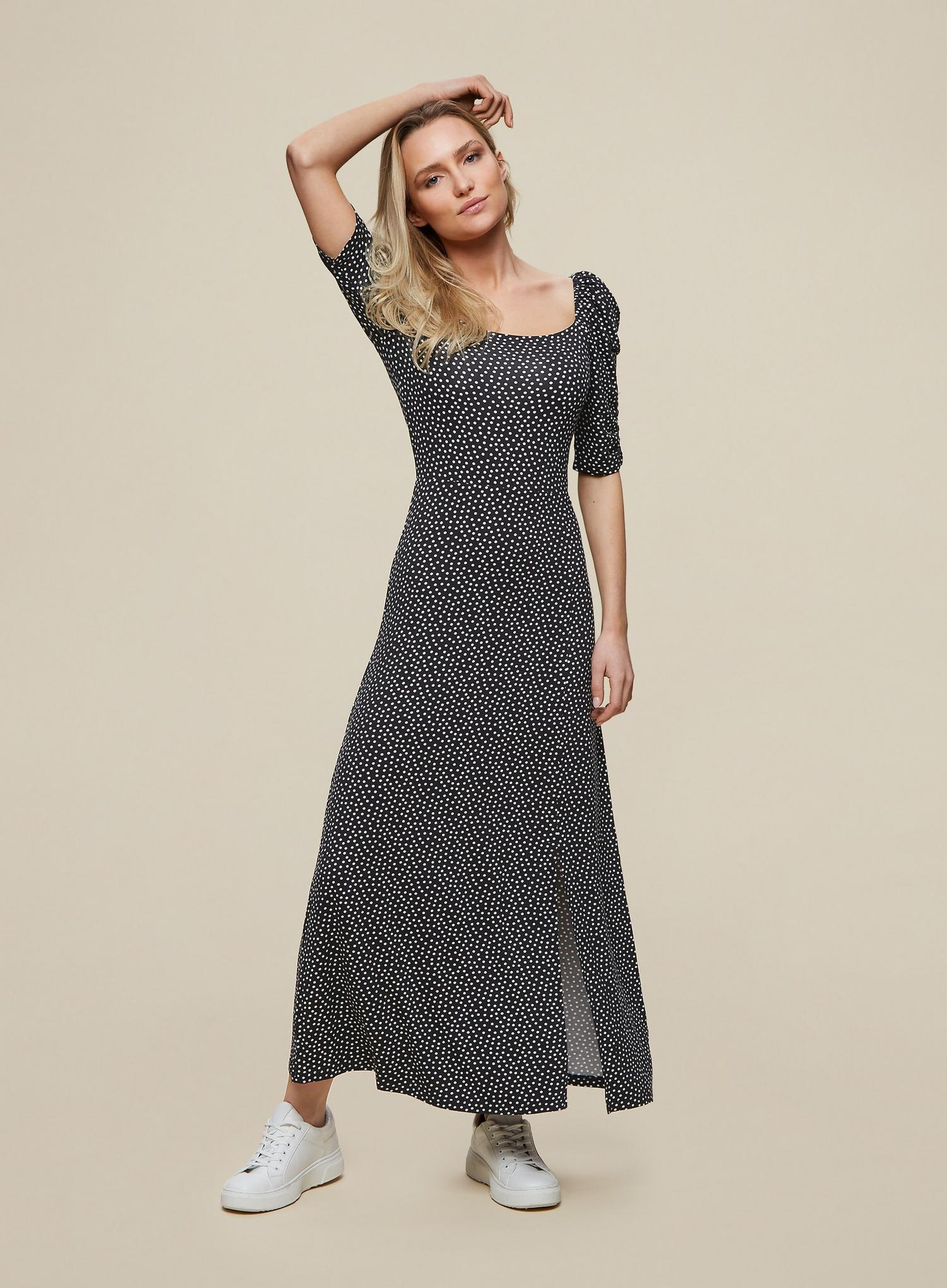 105 Black Spot Print Midi Dress image number 1