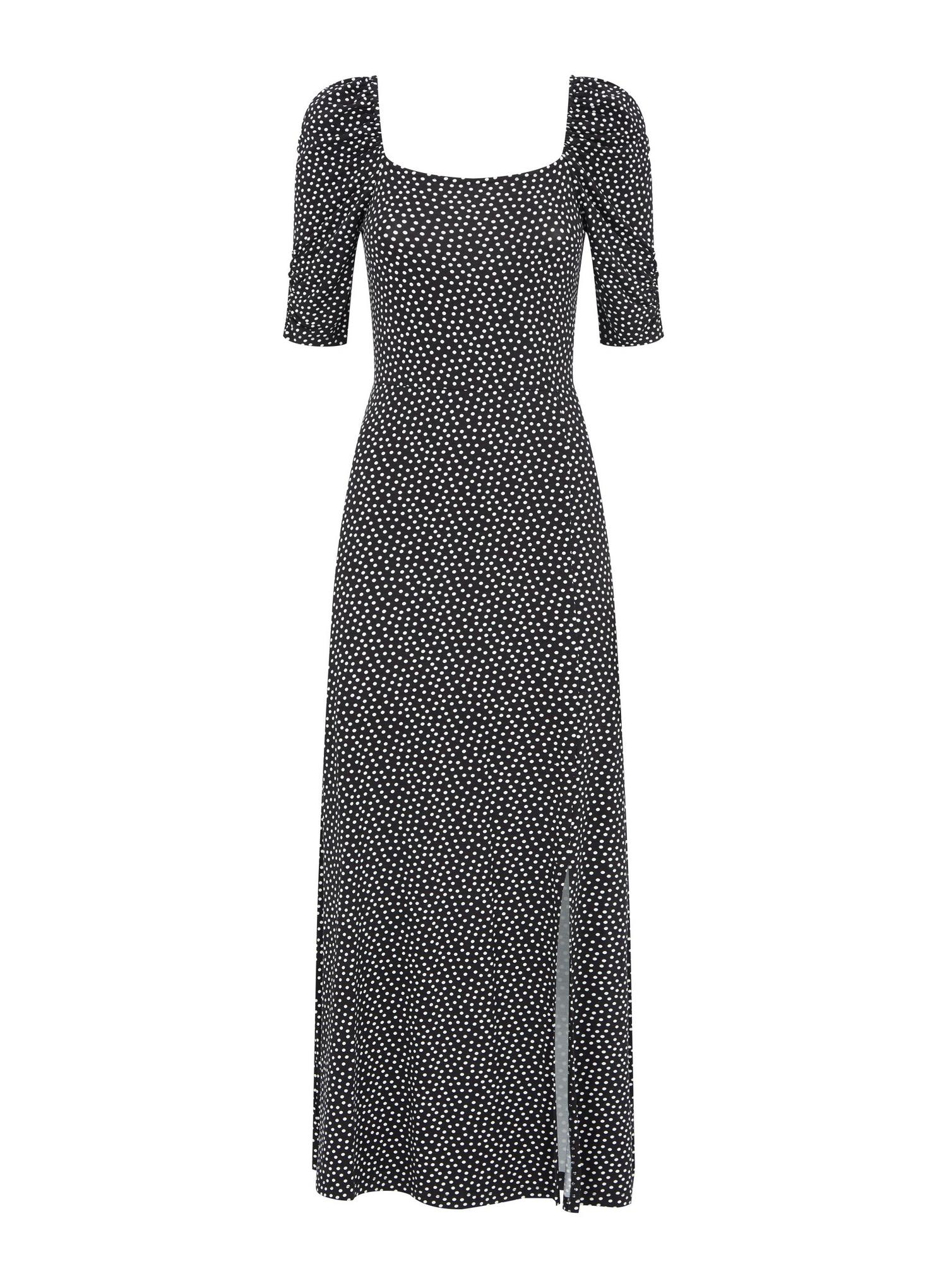 105 Black Spot Print Midi Dress image number 2