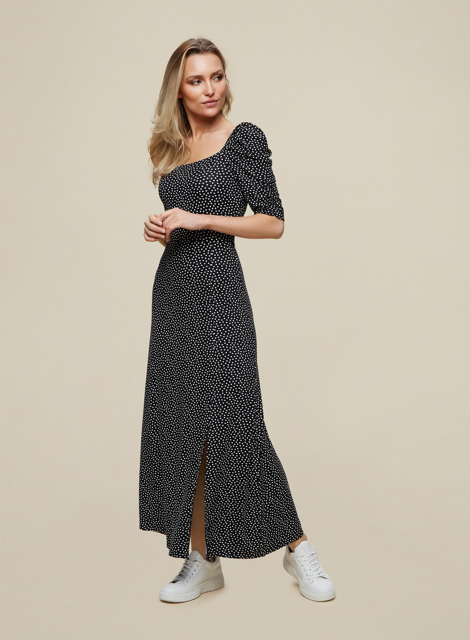 105 Black Spot Print Midi Dress image number 3