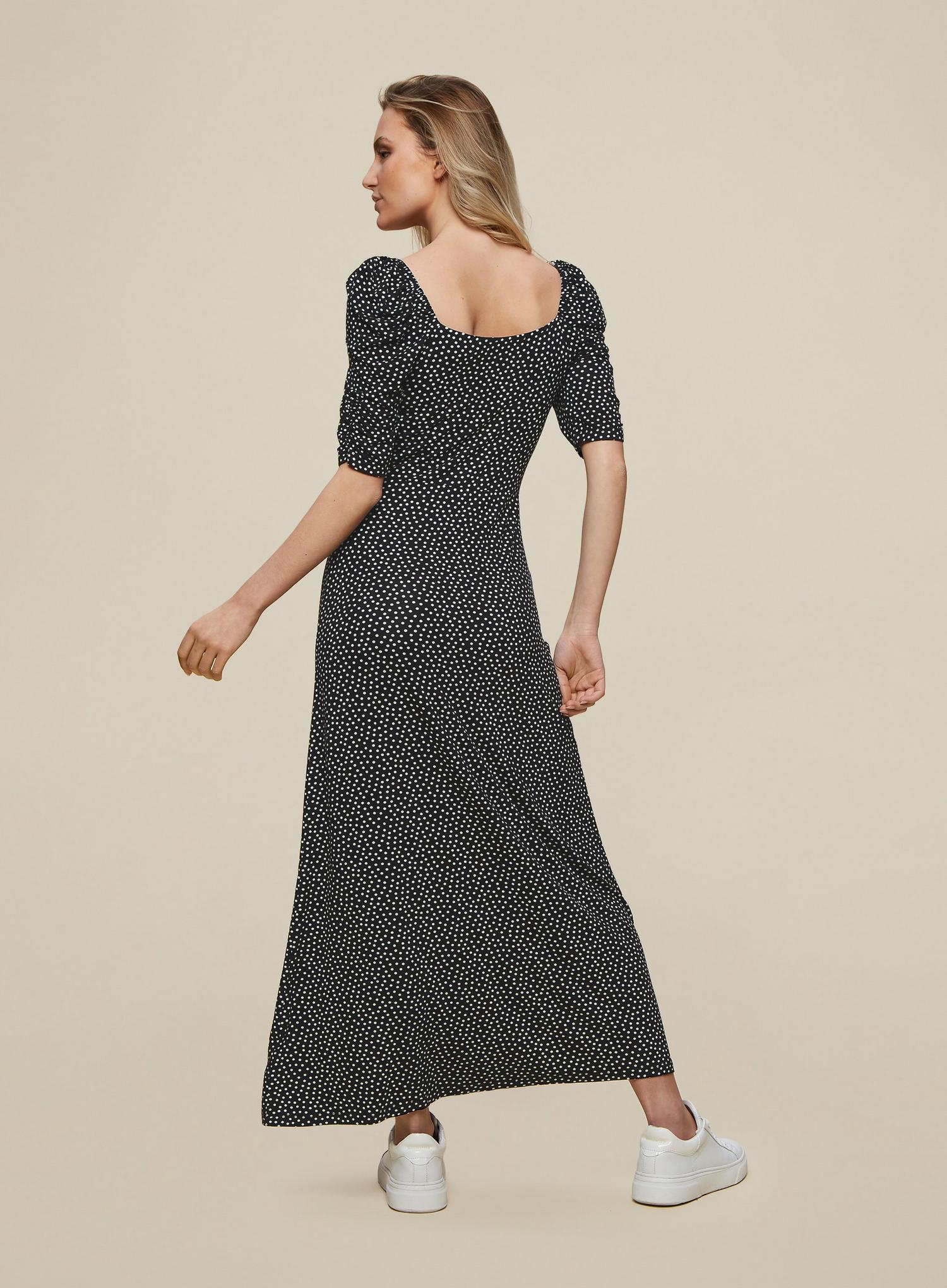 105 Black Spot Print Midi Dress image number 4