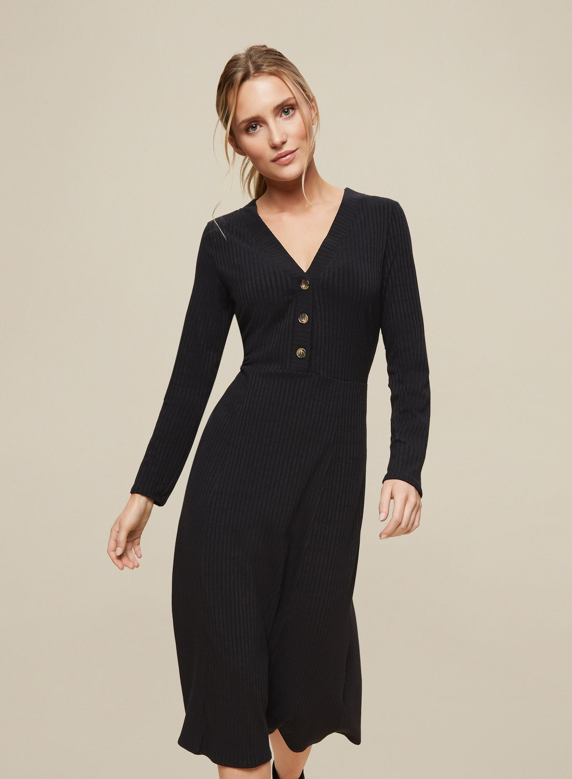 Black Rib Button Dress