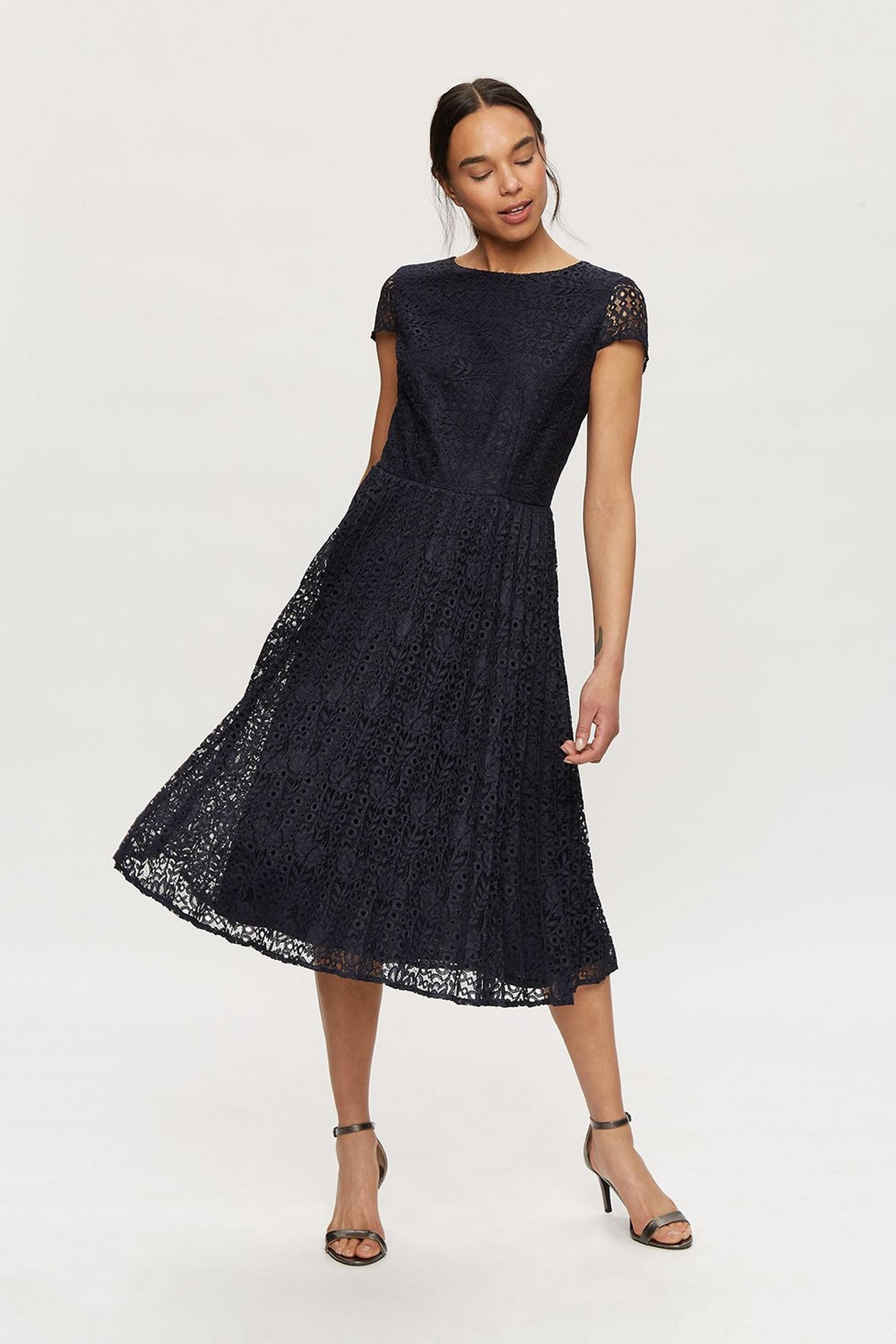 Navy Lace Pleated Midi Dress