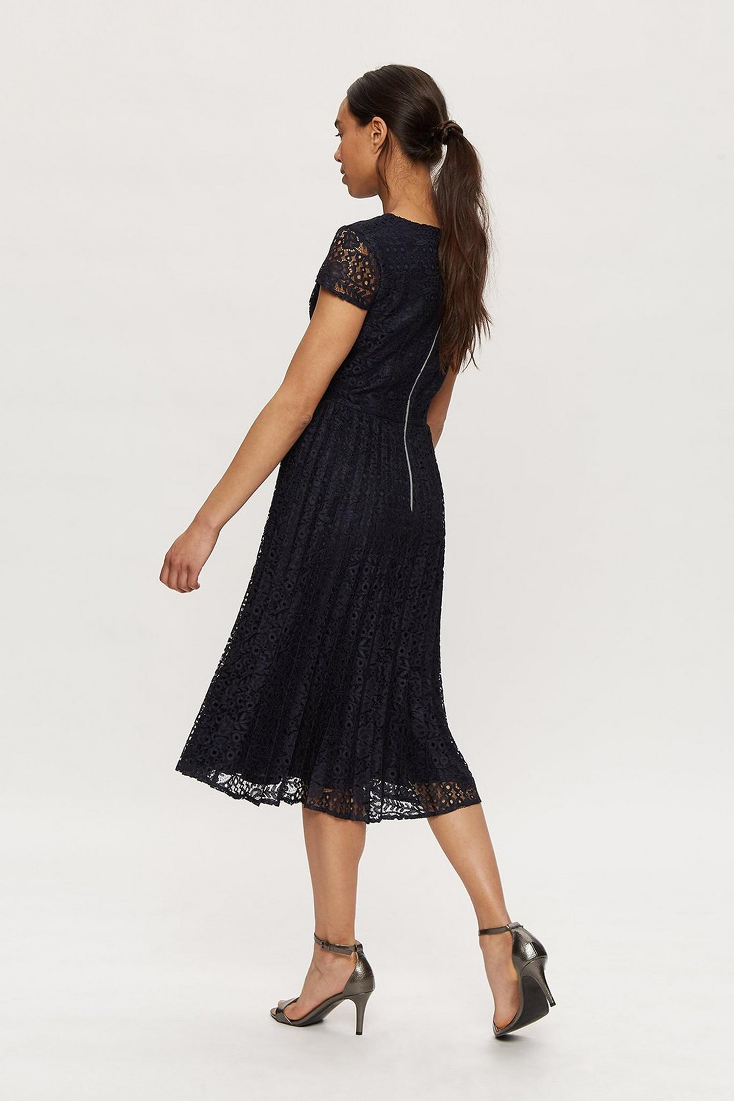 148 Navy Lace Pleated Midi Dress image number 2