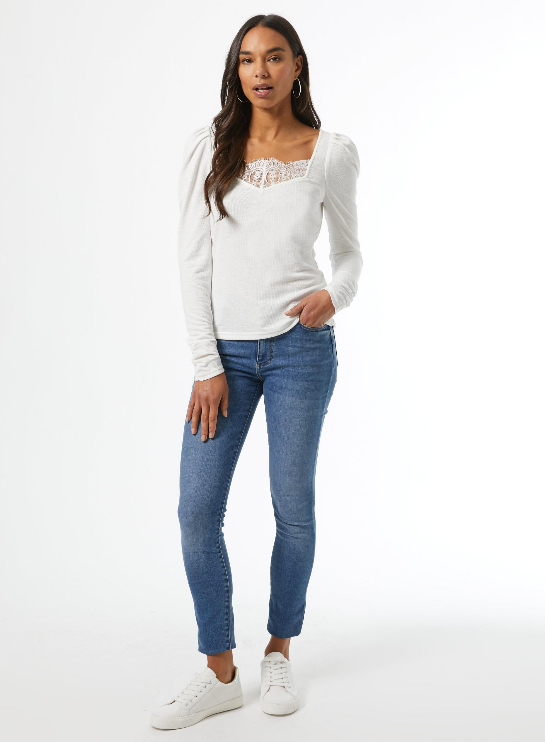 White Lace Trim Rib Top