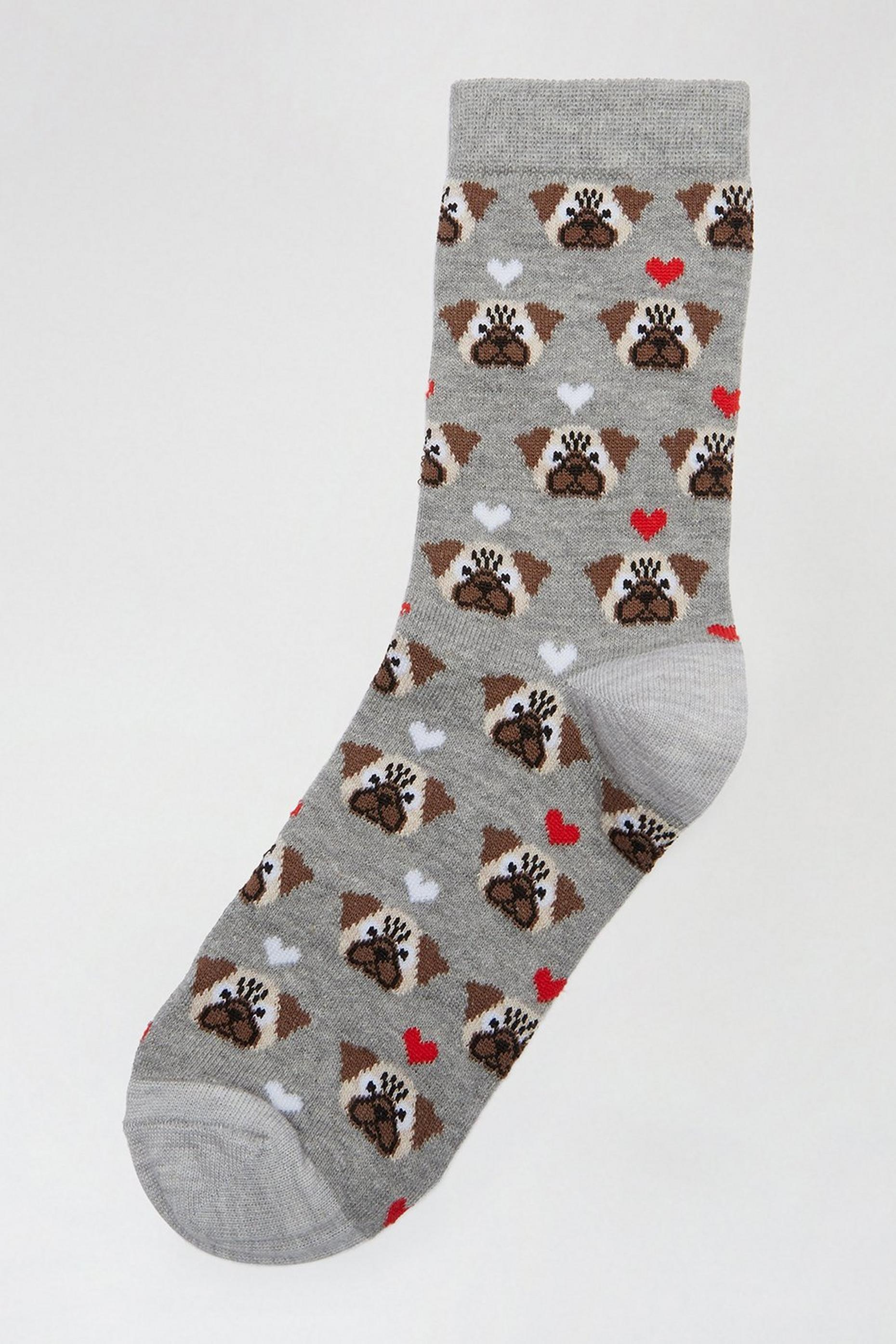 Grey Bulldog Ankle Socks