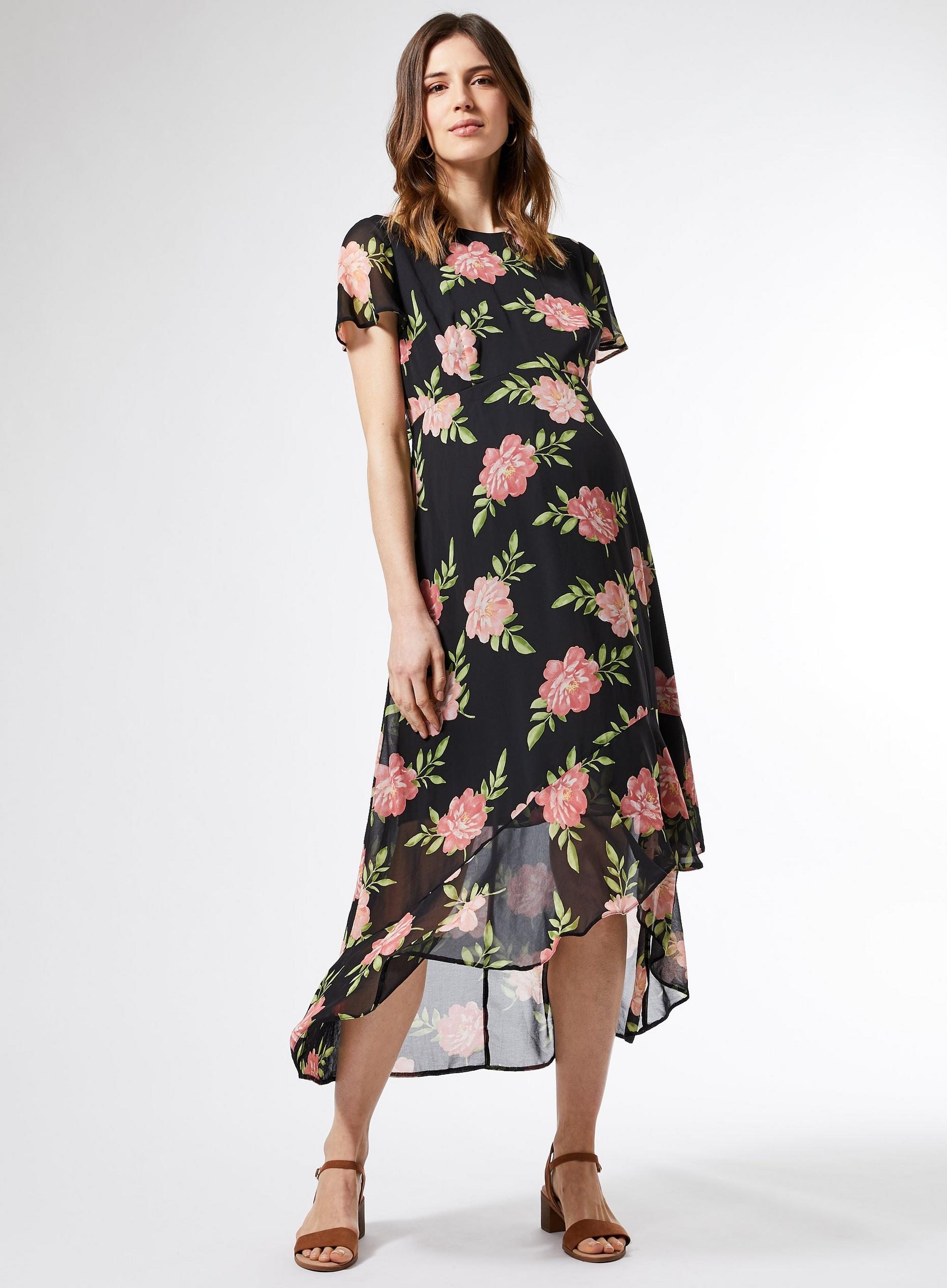 Maternity Black Floral High Low Maxi