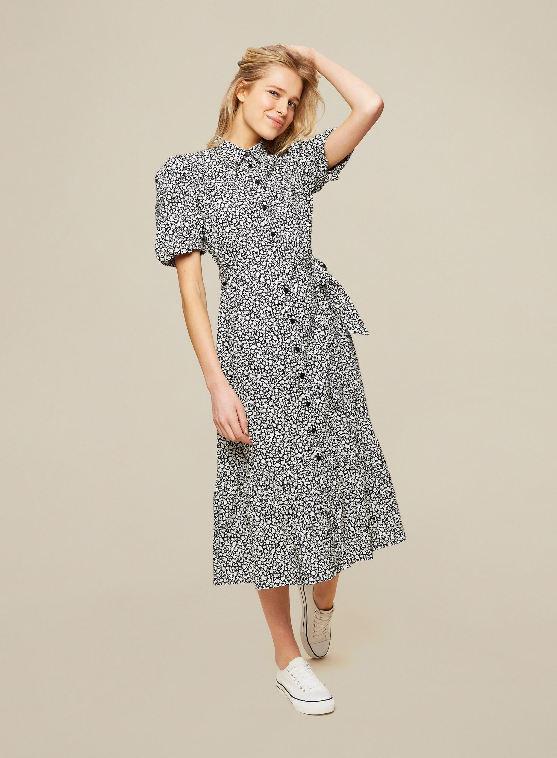 Black Ditsy Print Poplin Shirt Dress