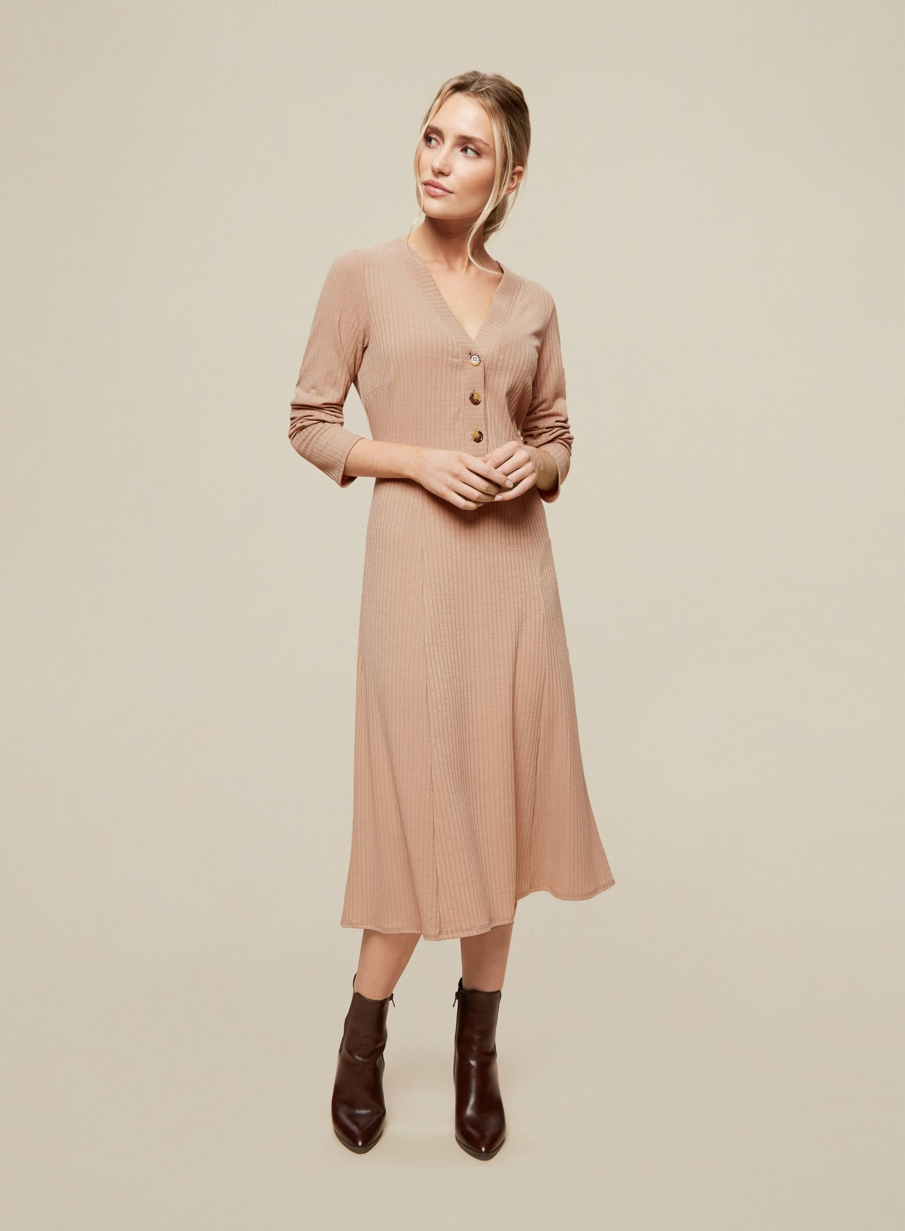 Camel Rib Button Front Skater Dress