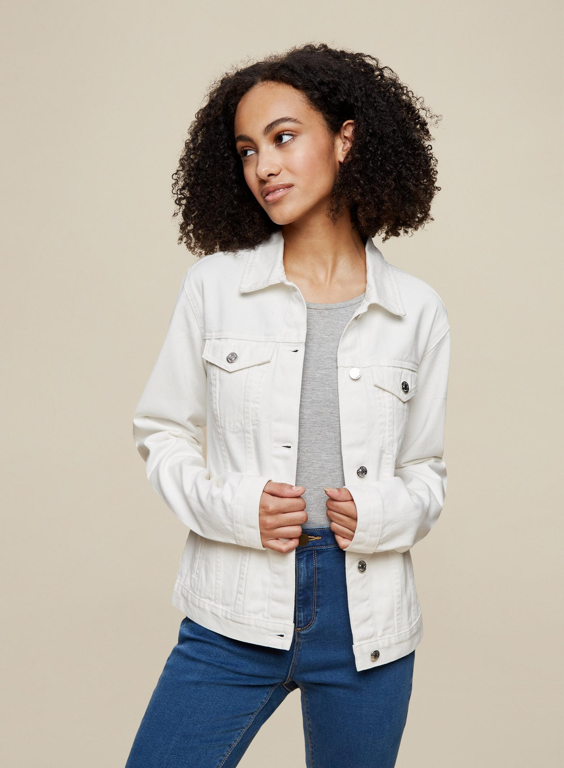 Tall White Denim Jacket