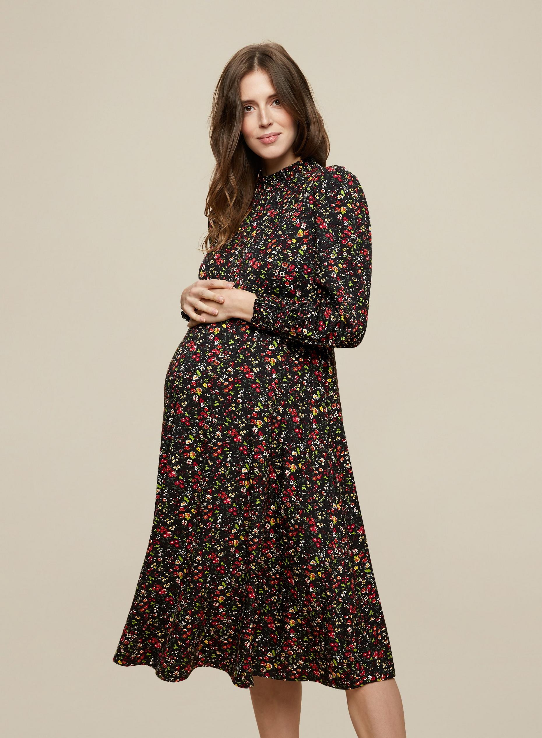 Maternity Ditsy Shired Neck Midi