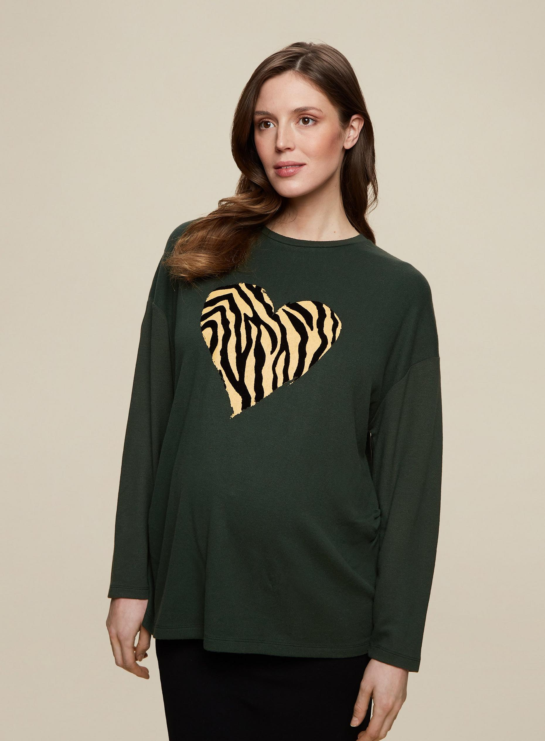 Khaki Animal Heart Jumper