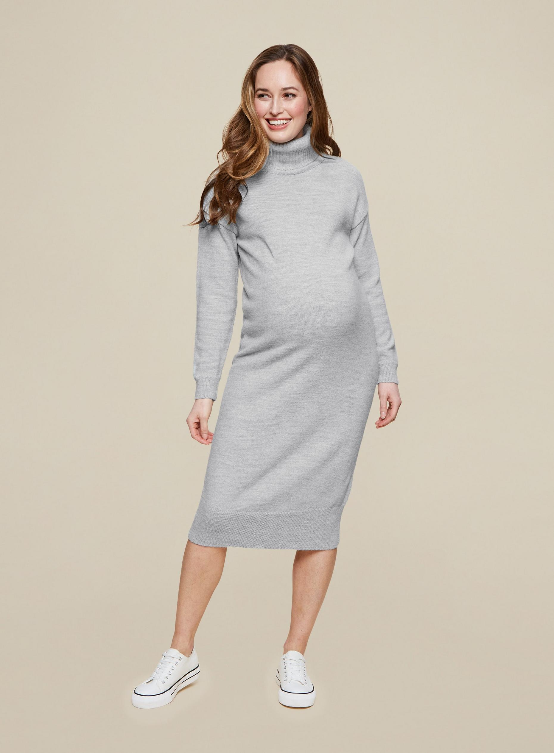 Maternity Grey Knitted Dress