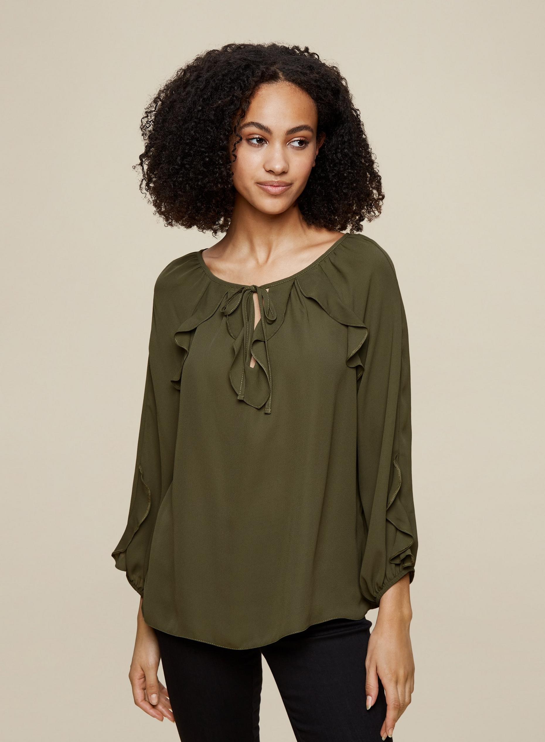 Tall Khaki Ruffle Top