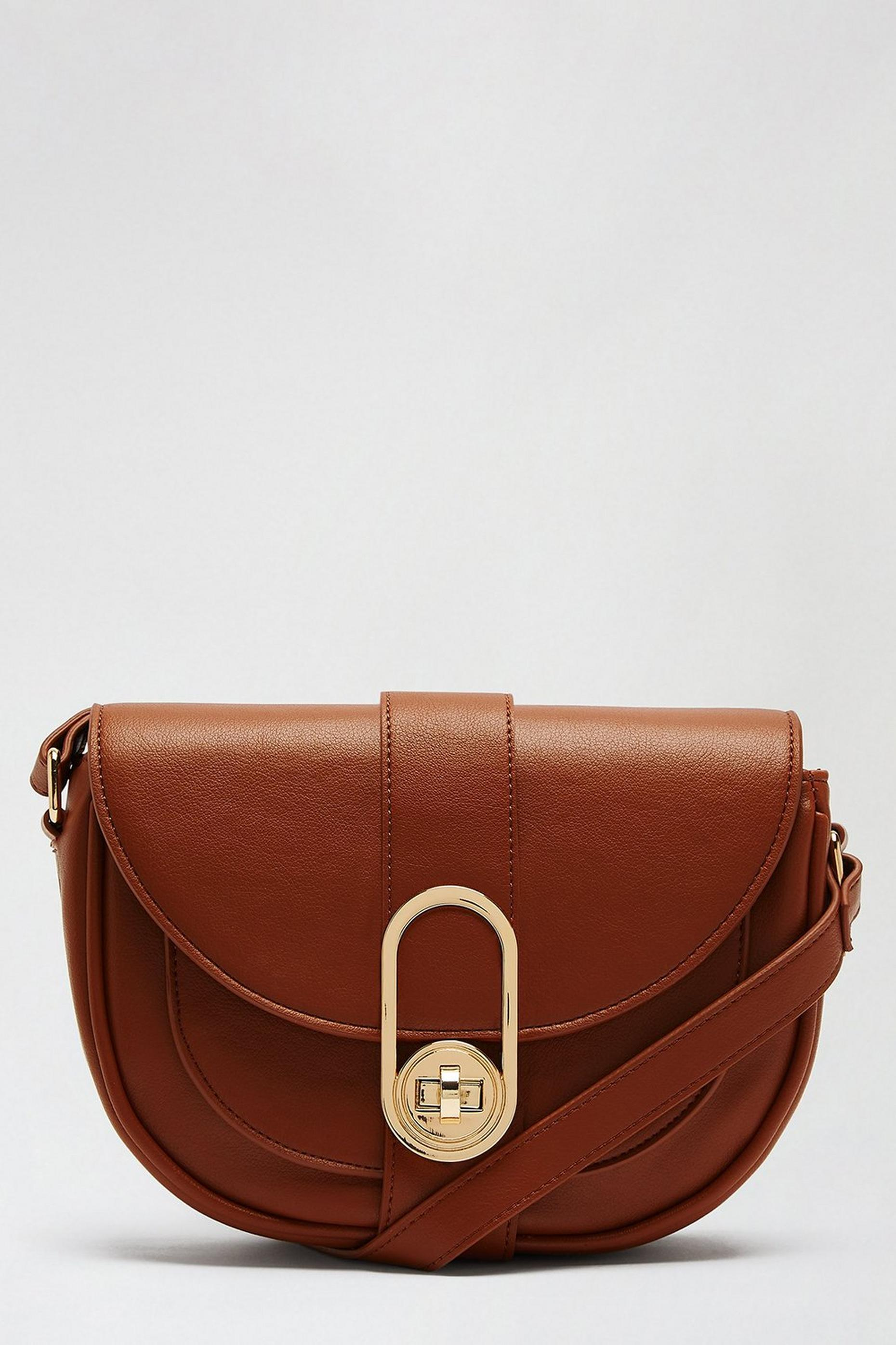 Tan Twistlock Saddle Bag