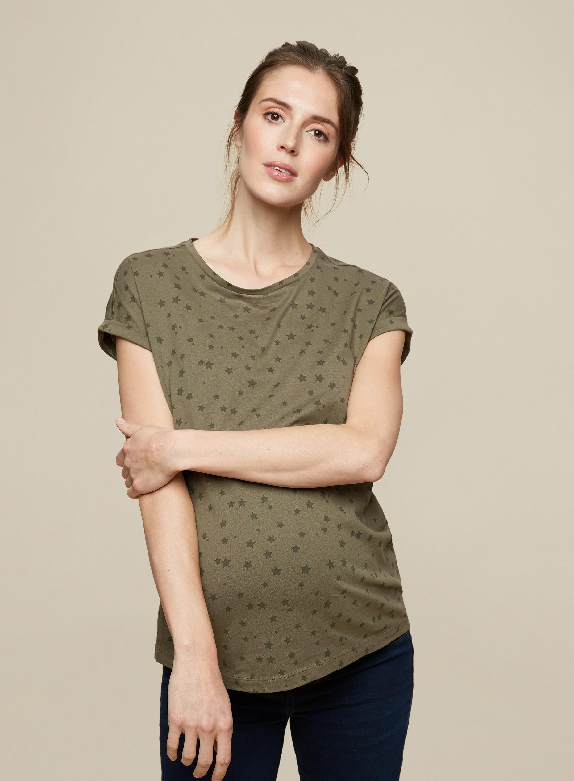 Maternity Khaki Star Roll Sleeve Tee