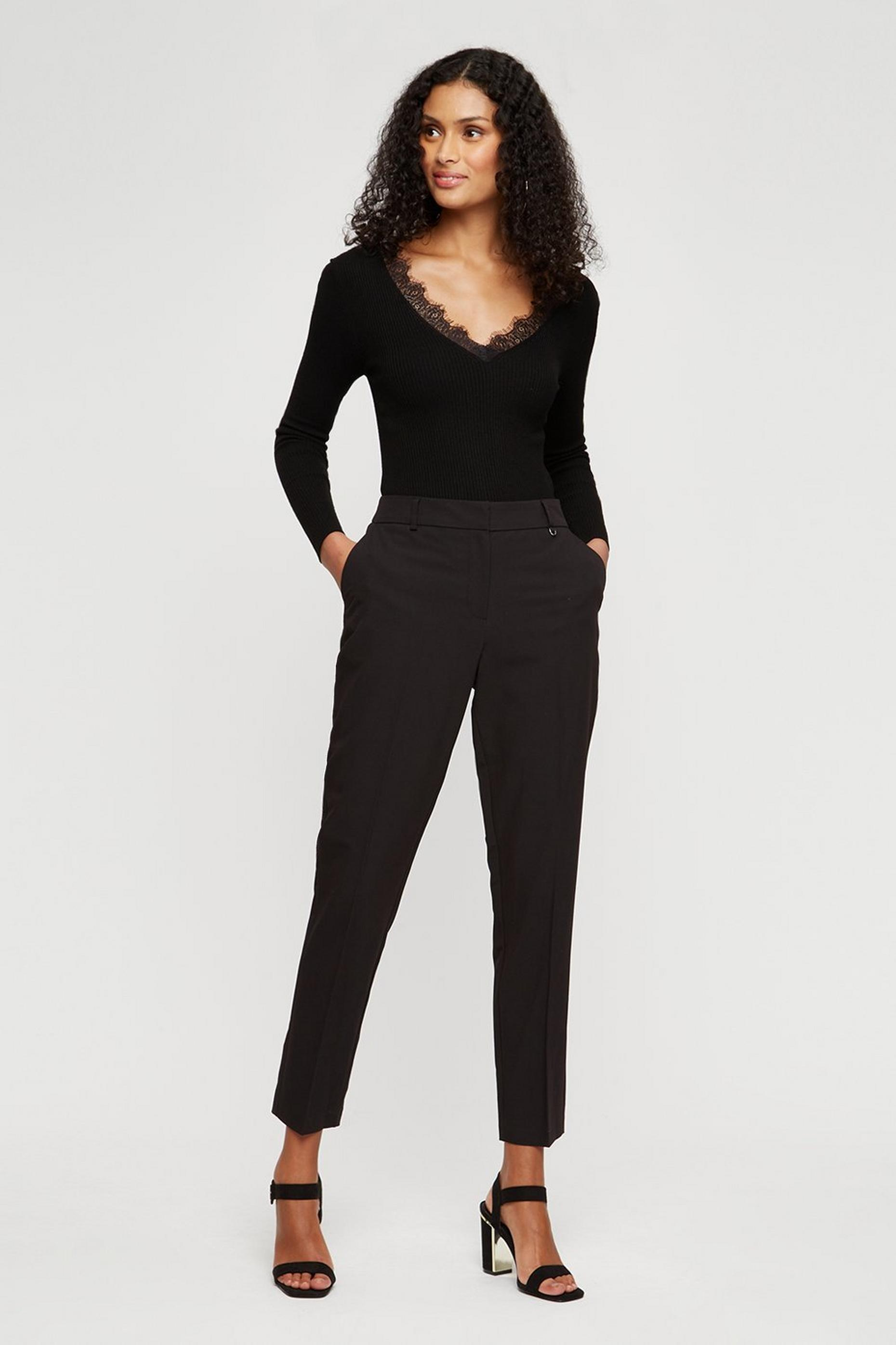 Black High Waist Slim Leg Trousers