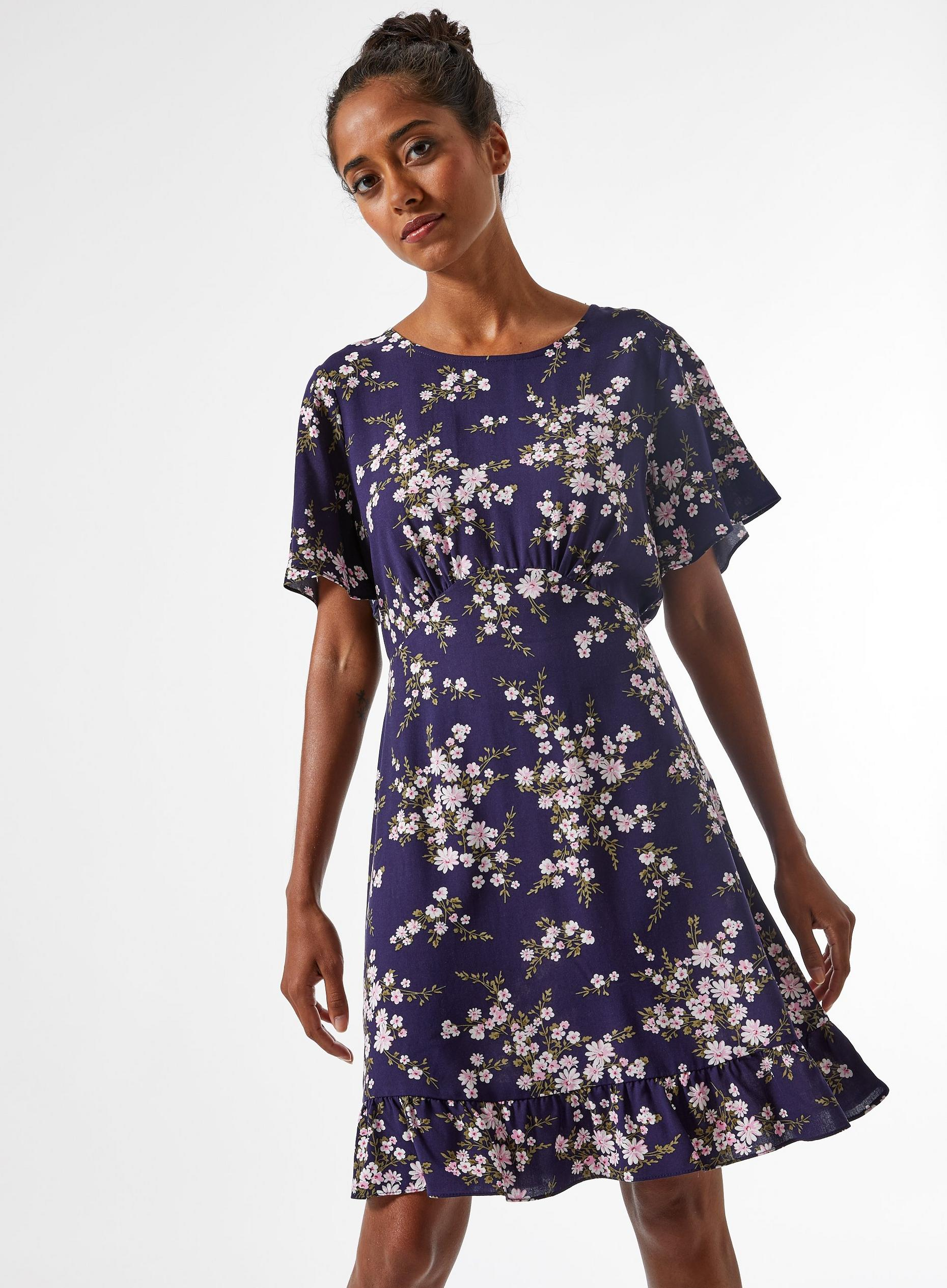 Petite Blue Ditsy Print Tea Dress