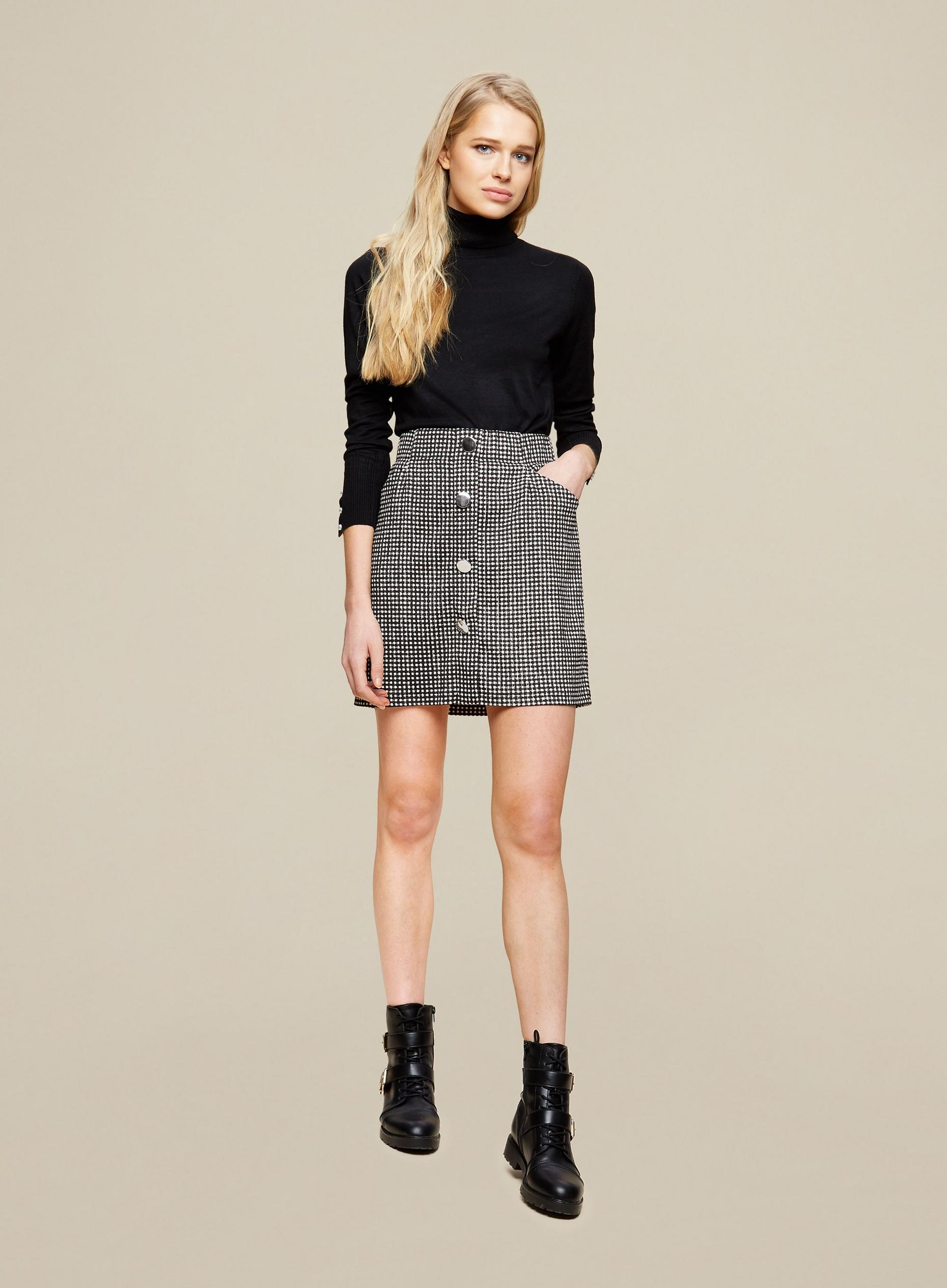 Black Gingham Button Front Mini Skirt