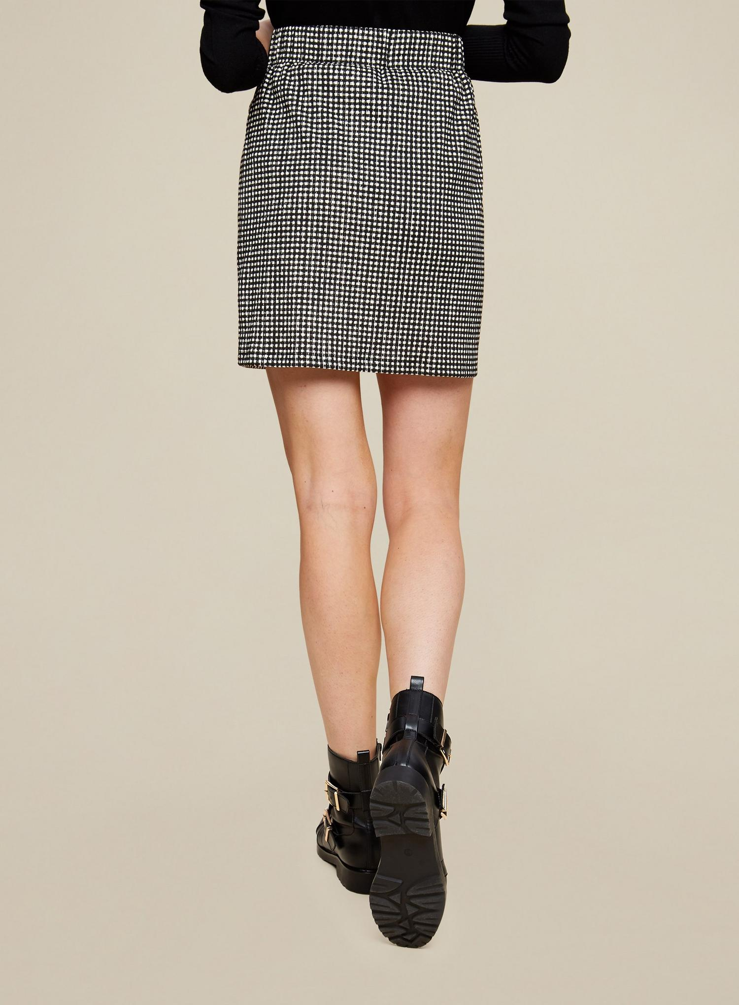 105 Black Gingham Button Front Mini Skirt image number 2