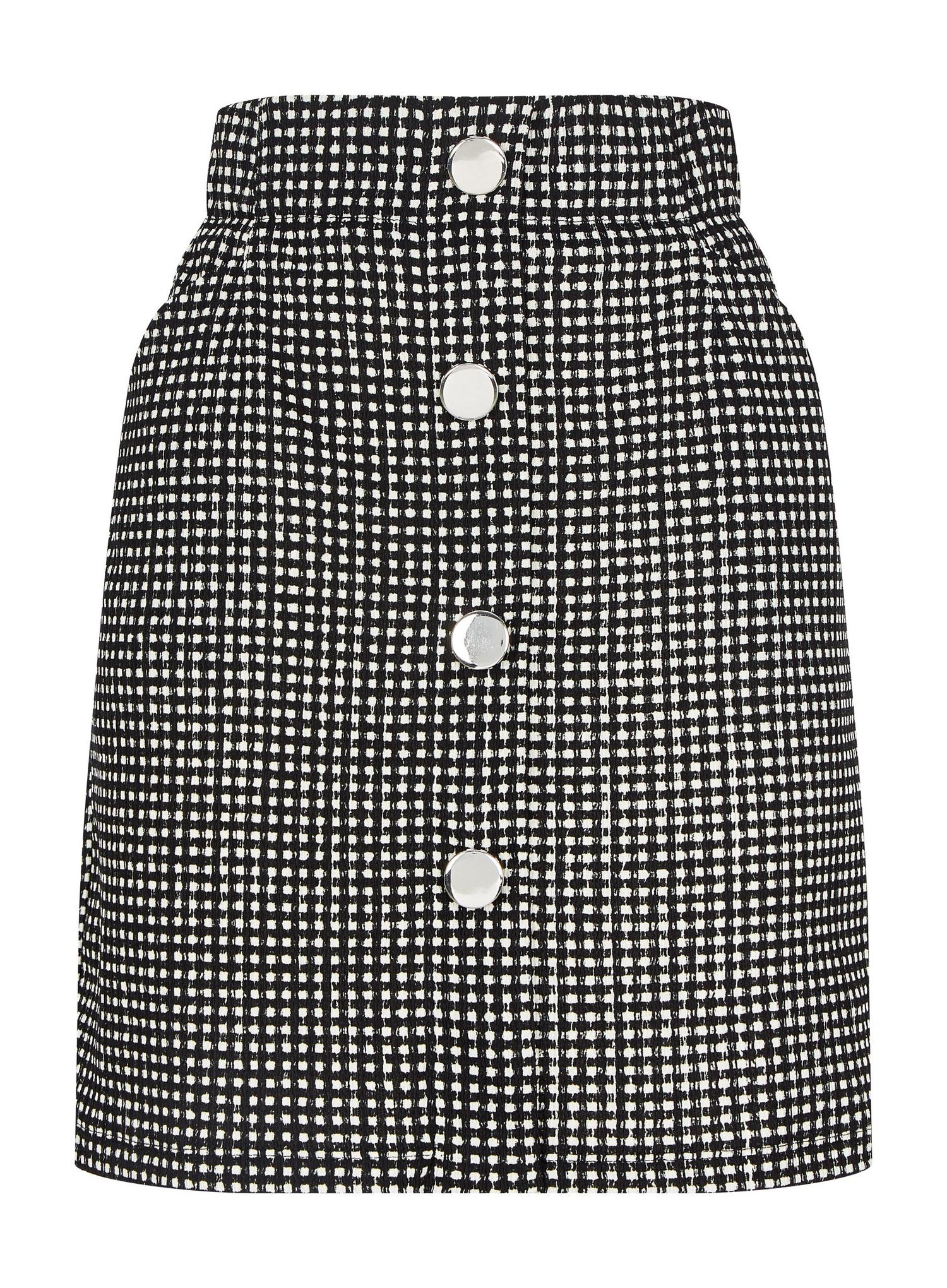 105 Black Gingham Button Front Mini Skirt image number 4